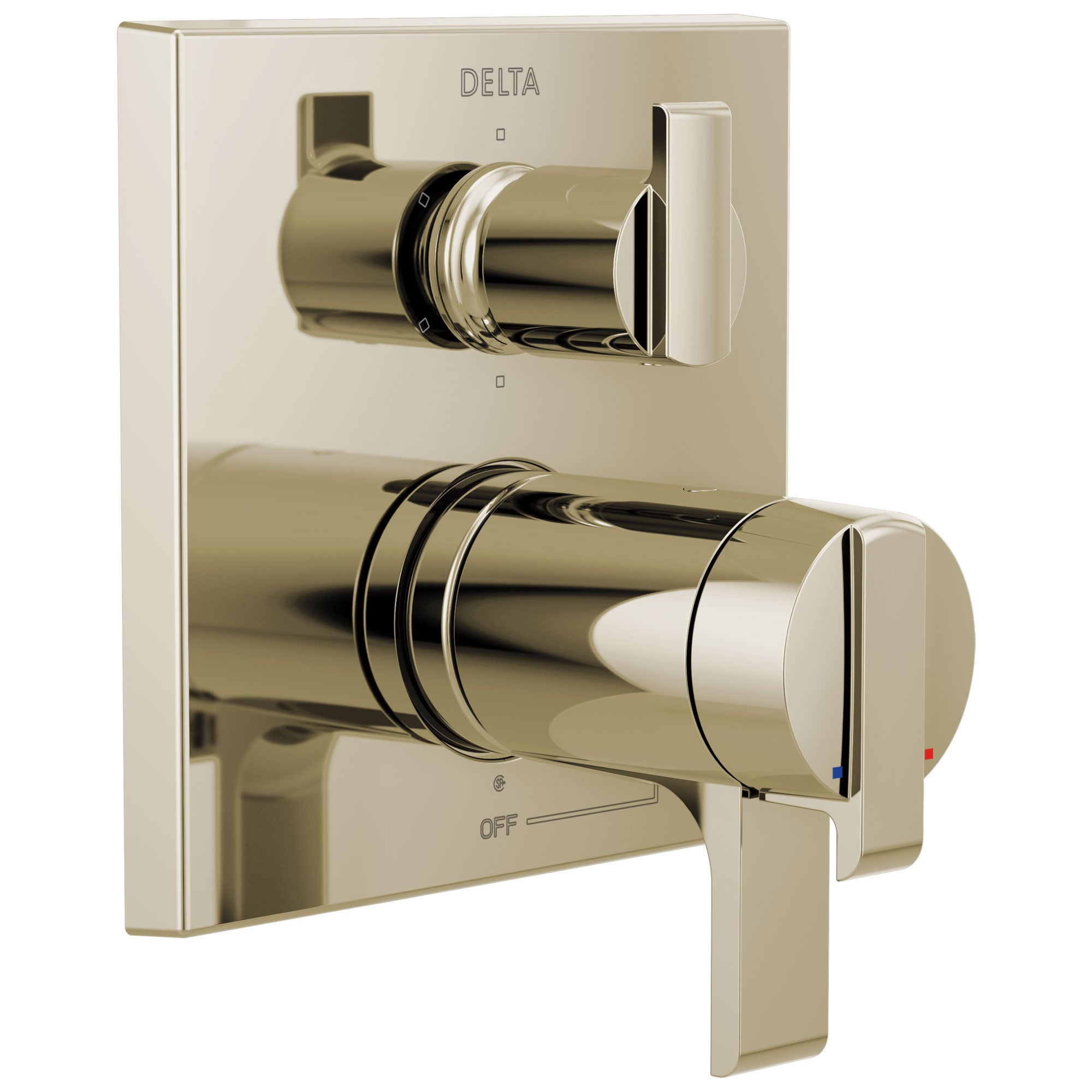 Delta Ara Polished Nickel Finish Modern Thermostatic Shower System Control with 6-Setting Integrated Diverter Includes Rough Valve and Handles D3670V