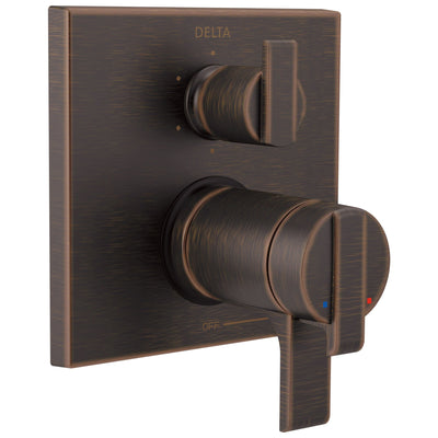 Delta Ara Venetian Bronze Modern Thermostatic Shower Faucet Control with 6-Setting Integrated Diverter Includes Trim Kit and Rough-in Valve with Stops D2115V