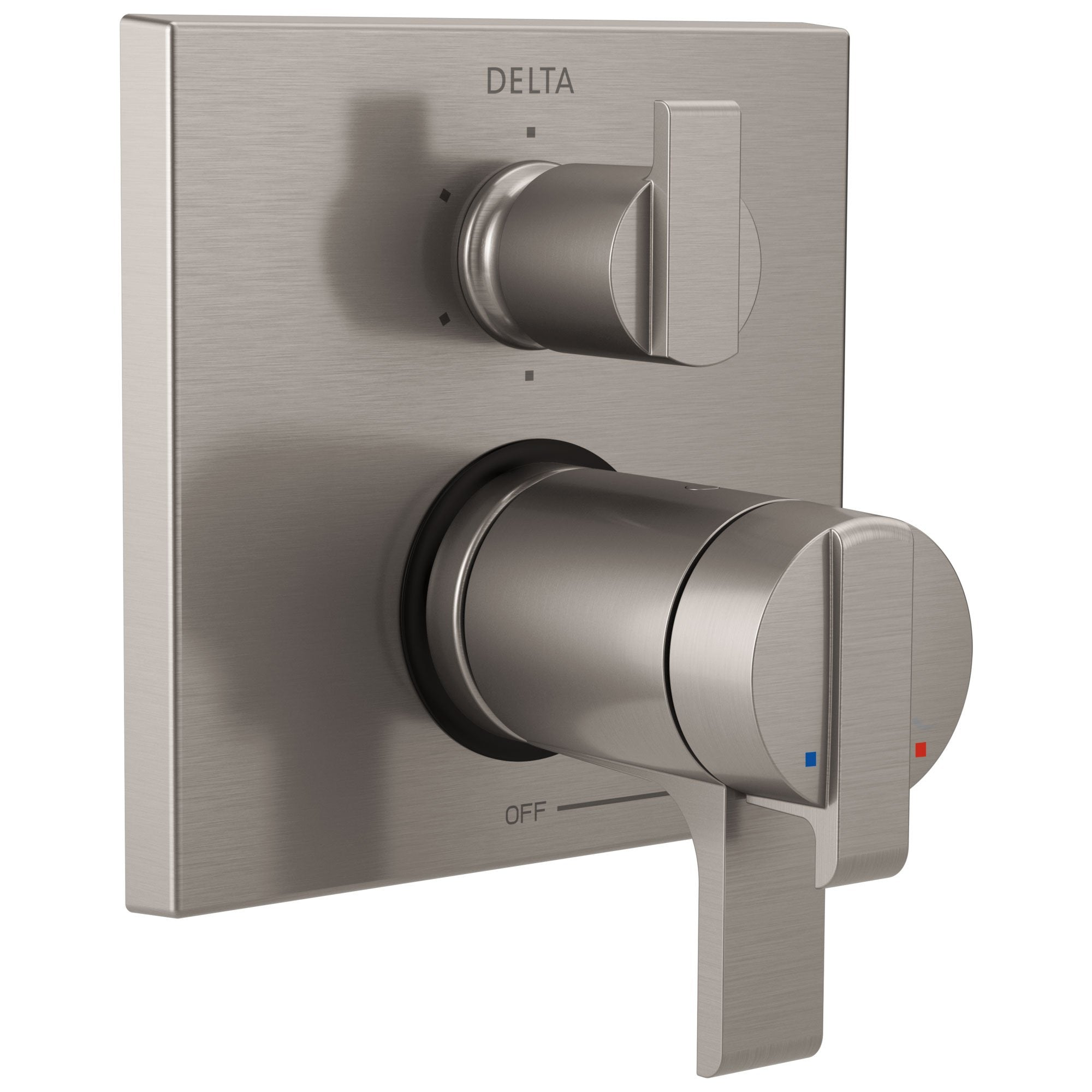 Delta Ara Stainless Steel Finish Thermostatic Shower Faucet Control with 6-Setting Integrated Diverter Includes Trim Kit and Rough-in Valve with Stops D2113V