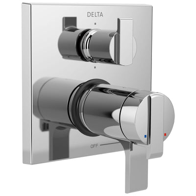 Delta Ara Collection Chrome Modern Thermostatic Shower Faucet Control Handle with 6-Setting Integrated Diverter Includes Trim Kit and Valve without Stops D2116V