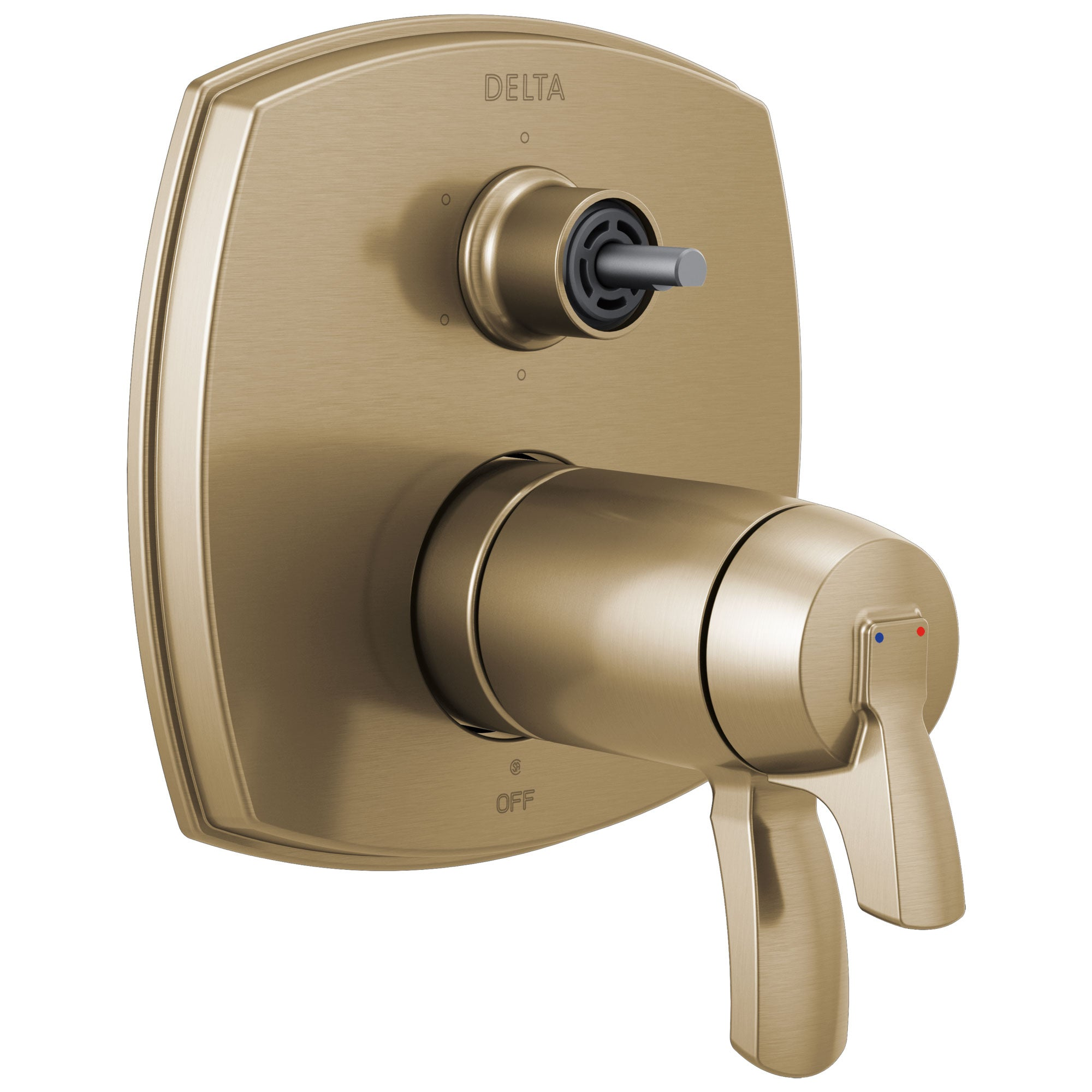 Delta Stryke Champagne Bronze Finish 17 Thermostatic Integrated Diverter Shower Control Trim with Six Function Diverter Less Diverter Handle (Requires Valve) DT27T976CZLHP