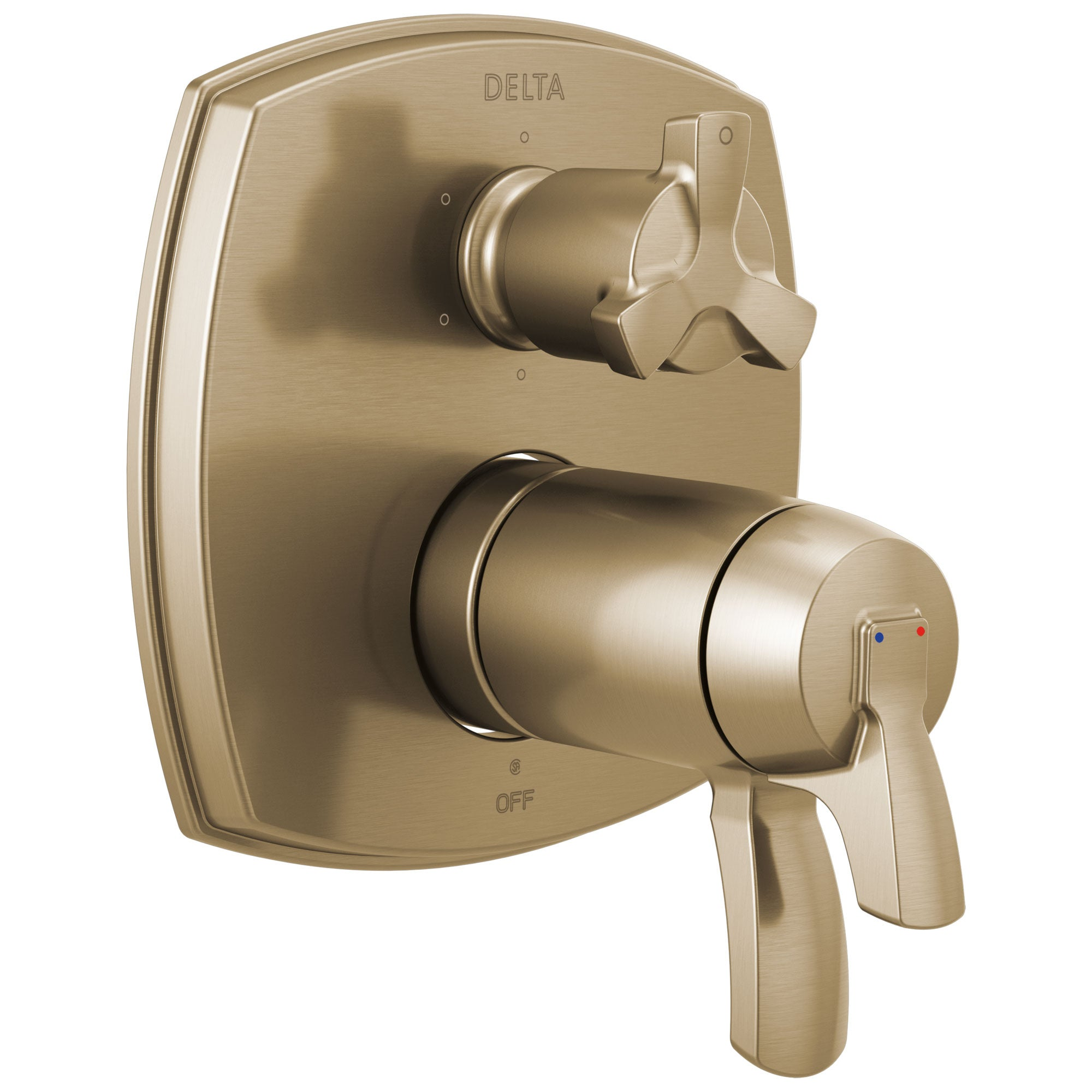 Delta Stryke Champagne Bronze Thermostatic Shower System Control with 6 Setting Integrated Cross Handle Diverter Includes Valve & Handles D3080V