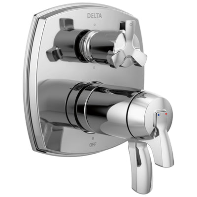 Delta Stryke Chrome Finish Thermostatic Shower System Control with 6 Setting Integrated Cross Handle Diverter Includes Valve & Handles D3665V