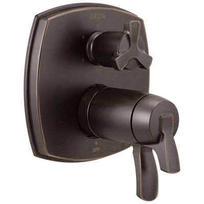 Delta Stryke Venetian Bronze Finish Thermostatic Shower System Control with 6 Setting Integrated Cross Handle Diverter Includes Valve & Handles D3663V