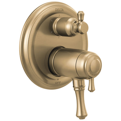 Delta Cassidy Champagne Bronze Finish Thermostatic 17T Shower System Control with 6-Setting Integrated Diverter Includes Valve and Handles D3659V