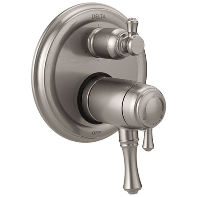 Delta Cassidy Stainless Steel Finish Thermostatic Shower Faucet Control with 6-Setting Integrated Diverter Includes Trim Kit and Valve without Stops D2106V