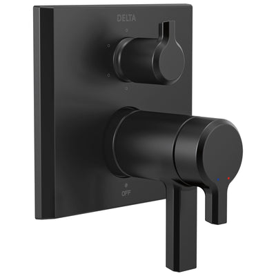 Delta Pivotal Matte Black Finish Thermostatic 17T Shower System Control with 6-Setting Integrated Diverter Includes Rough Valve and Handles D3656V