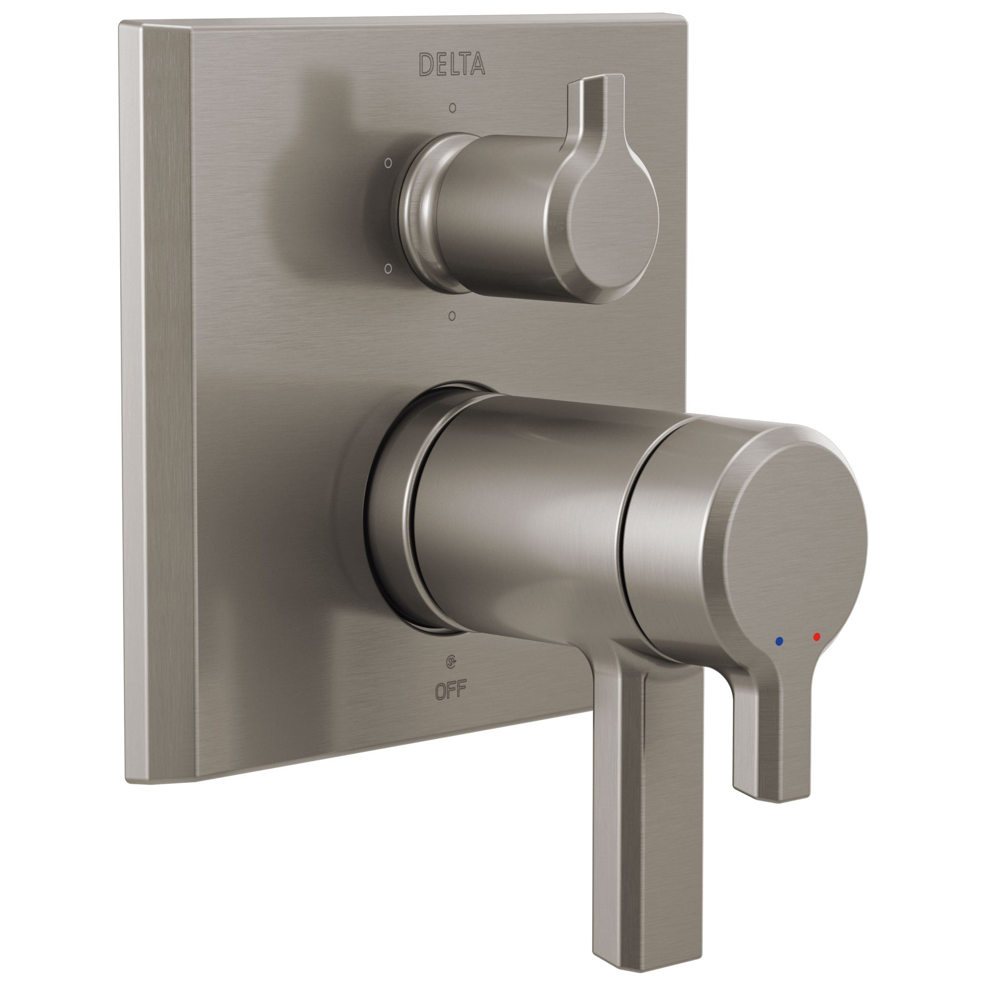 Delta Pivotal Stainless Steel Finish Thermostatic 17T Shower System Control with 6-Setting Integrated Diverter Includes Rough Valve and Handles D3654V