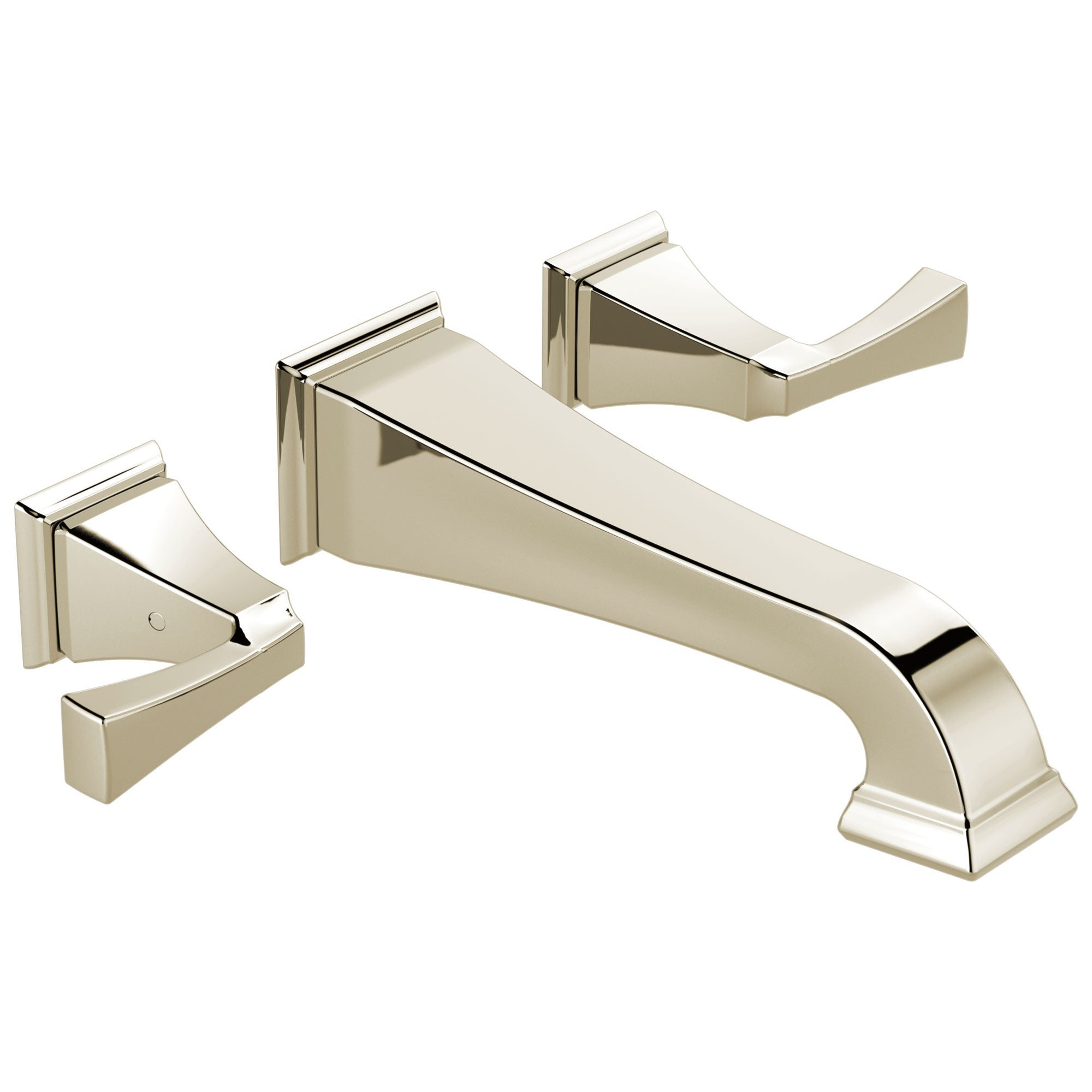 Delta Dryden Collection Polished Nickel Finish Two Handle Wall Mounted Bathroom Sink Lavatory Faucet Includes Rough-in Valve D2104V