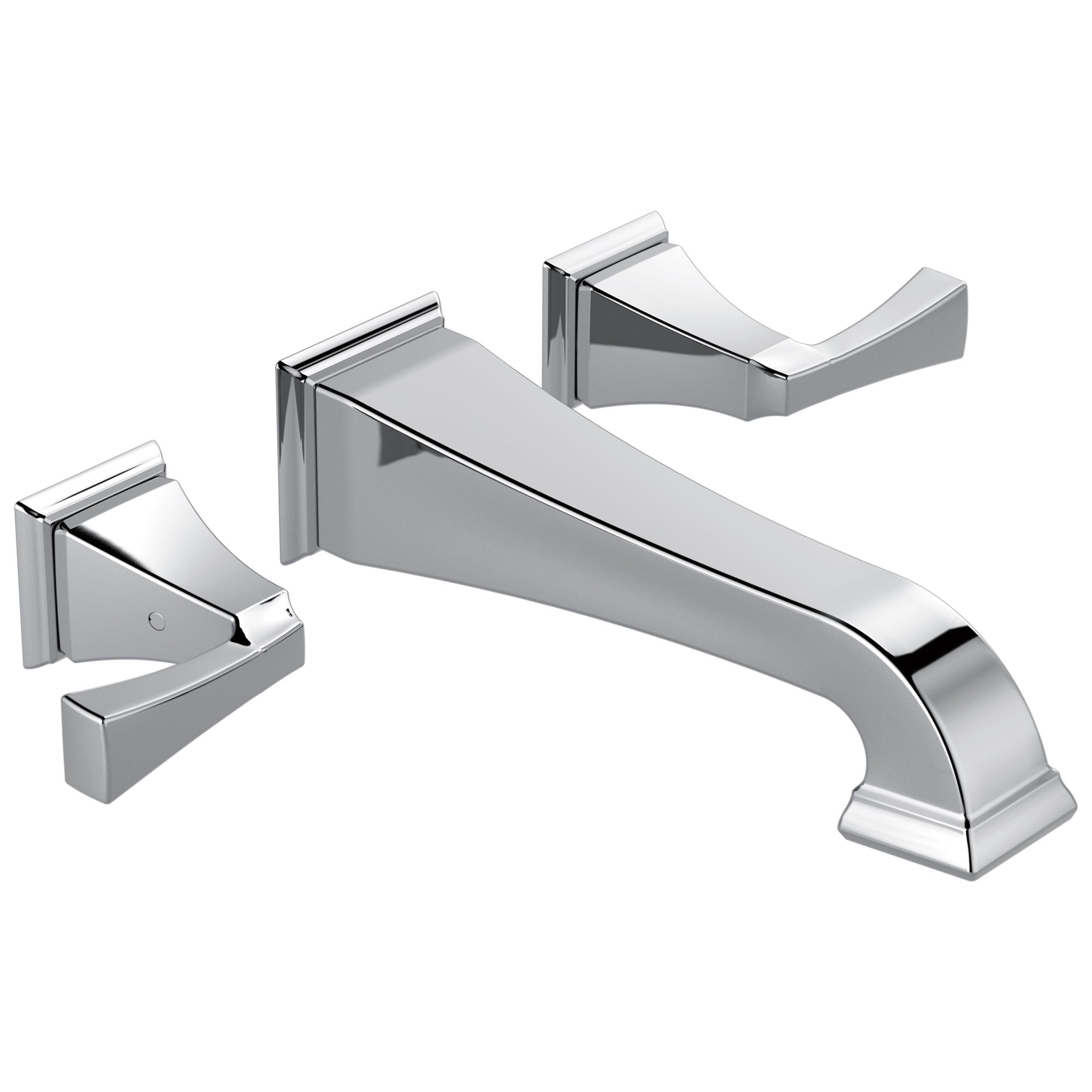 Delta Dryden Collection Chrome Finish Two Handle Wall Mounted Bathroom Sink Lavatory Faucet Includes Rough-in Valve D2100V