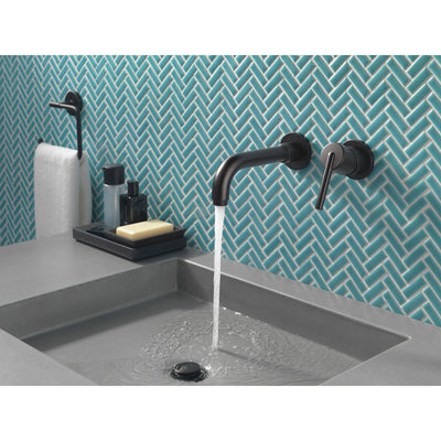 Delta Trinsic Collection Matte Black Finish Single Lever Handle Wall Mount Bathroom Sink Faucet Includes Rough-in Valve D2099V