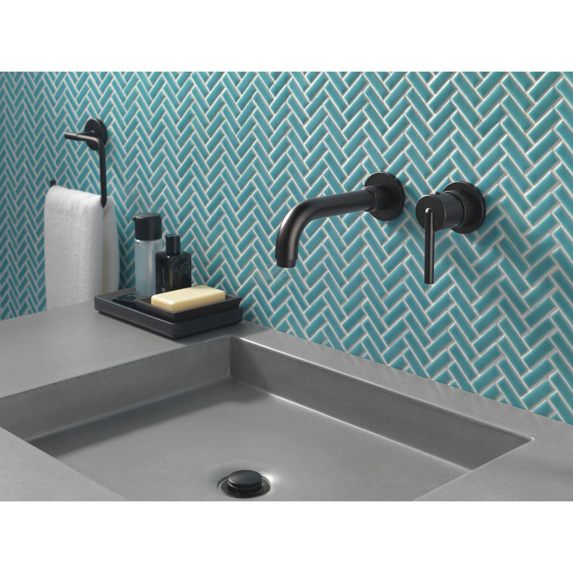 Picture of: Delta Trinsic Collection Matte Black Finish Single Lever Handle Wall M Faucetlist Com