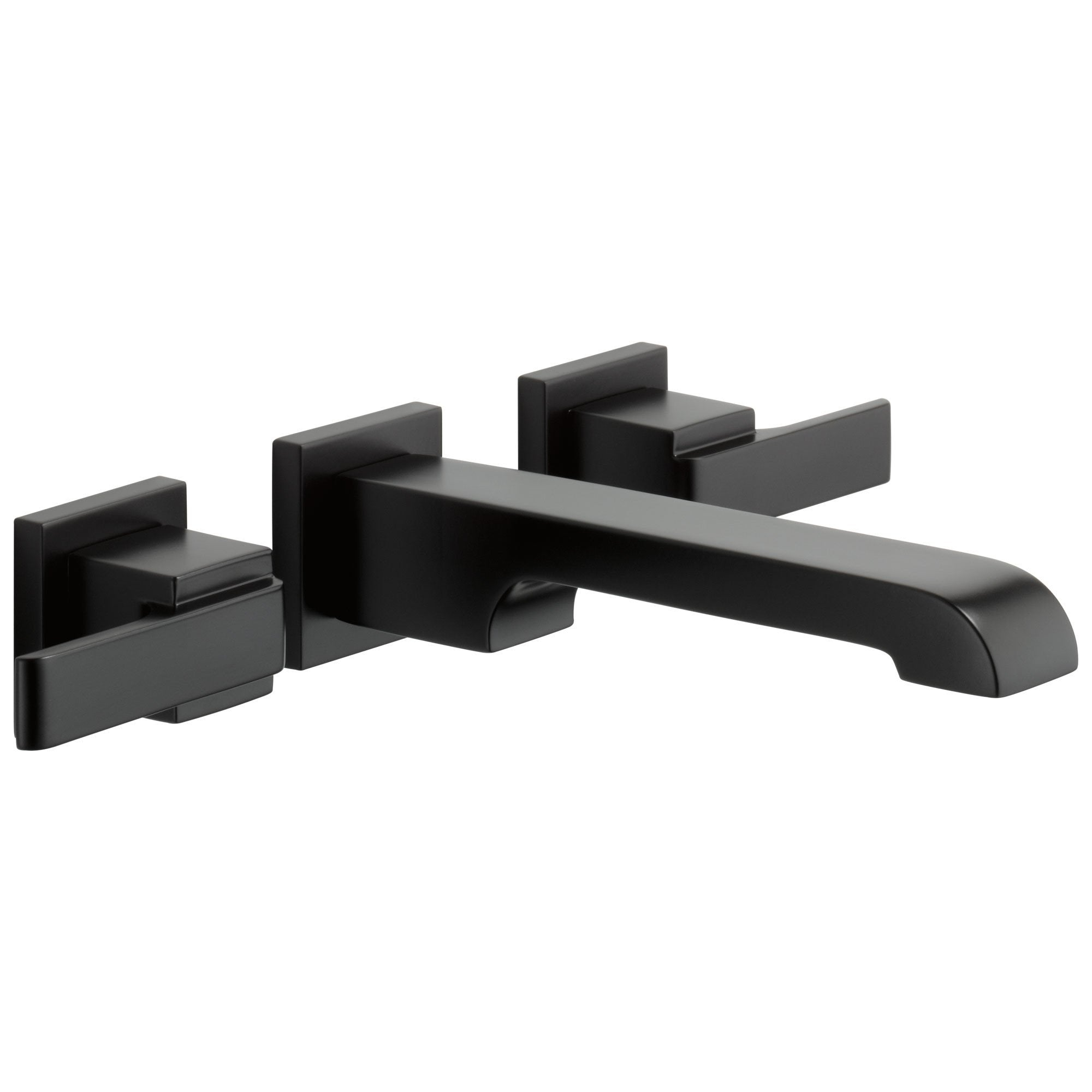 Delta Ara Collection Matte Black Finish Modern Two Handle Wall Mounted Bathroom Lavatory Sink Faucet Trim Kit (Requires Rough-in Valve) DT3567LFBLWL
