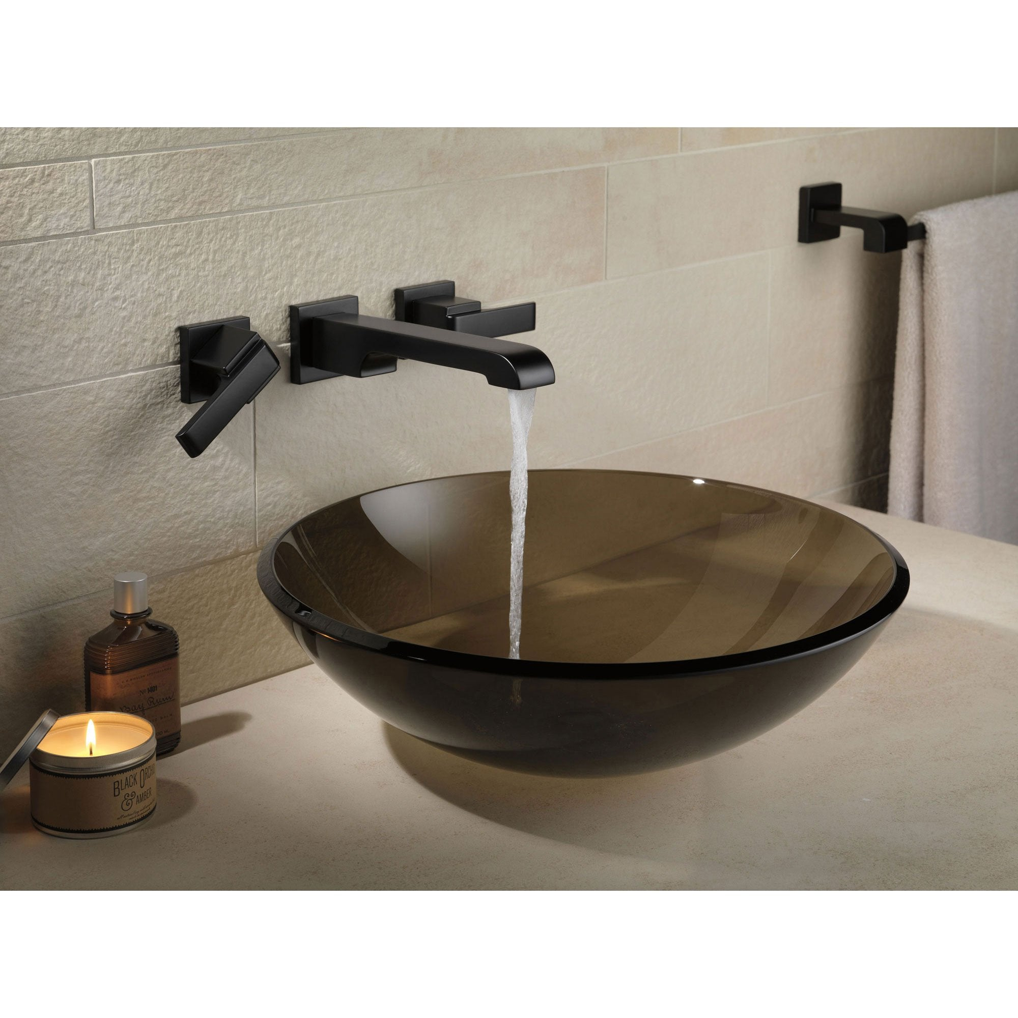 Delta Ara Collection Matte Black Finish Modern Two Handle Wall Mounted Faucetlist Com
