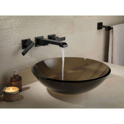Delta Ara Collection Matte Black Finish Modern Two Handle Wall ...