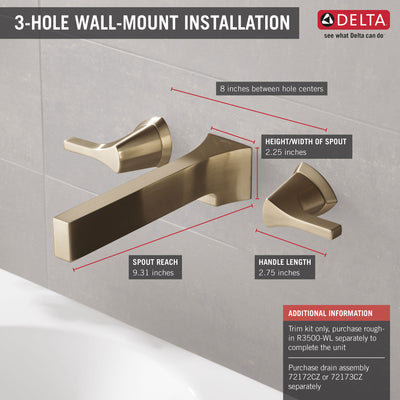 Delta Zura Champagne Bronze Finish Two Handle Wall Mount Bathroom Sink Faucet Trim Kit (Requires Valve) DT3574LFCZWL