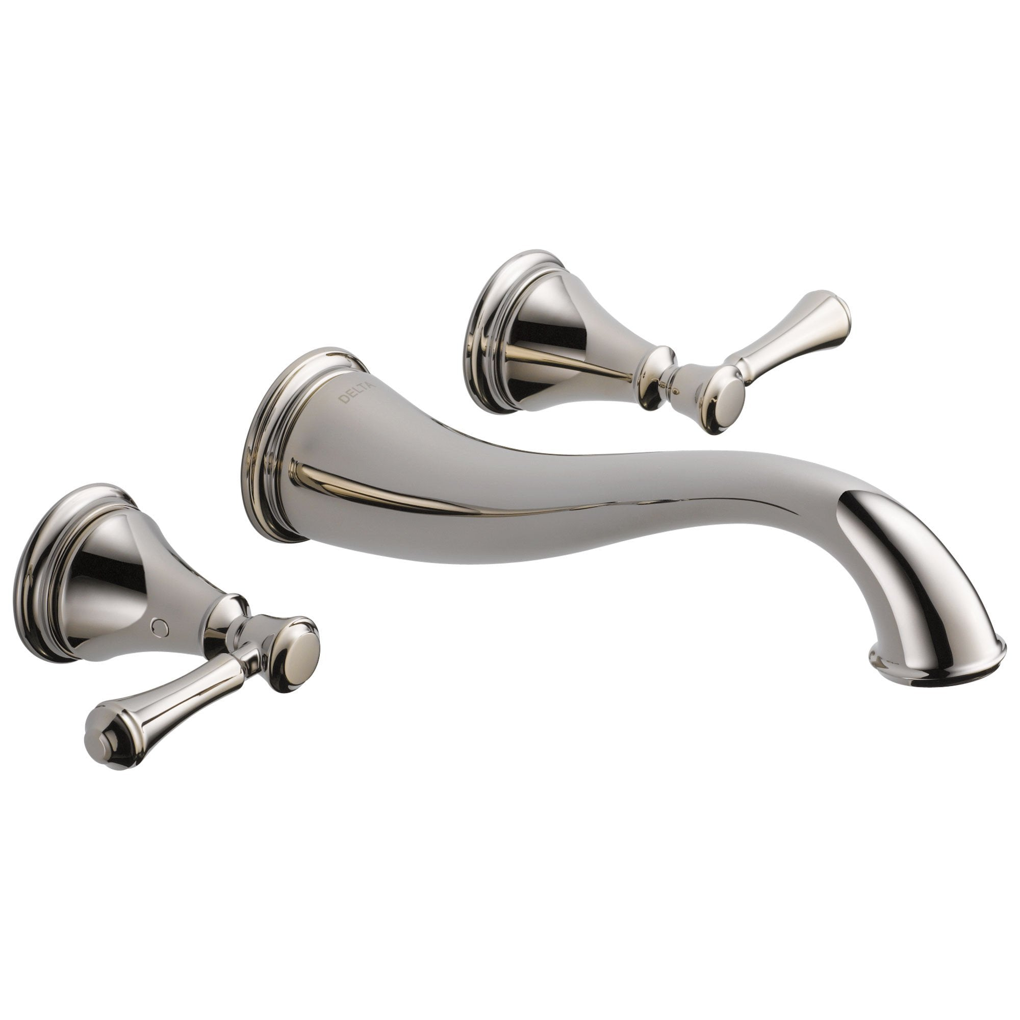Delta Cassidy Collection Polished Nickel Traditional Style Two Handle Wall Mount Bathroom Sink Faucet Trim Kit (Requires Rough-in Valve) DT3597LFPNWL