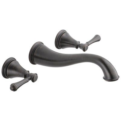 Delta Cassidy Collection Venetian Bronze Traditional Style Two Handle Wall Mount Bathroom Sink Faucet Includes Trim Kit and Rough-in Valve D2082V