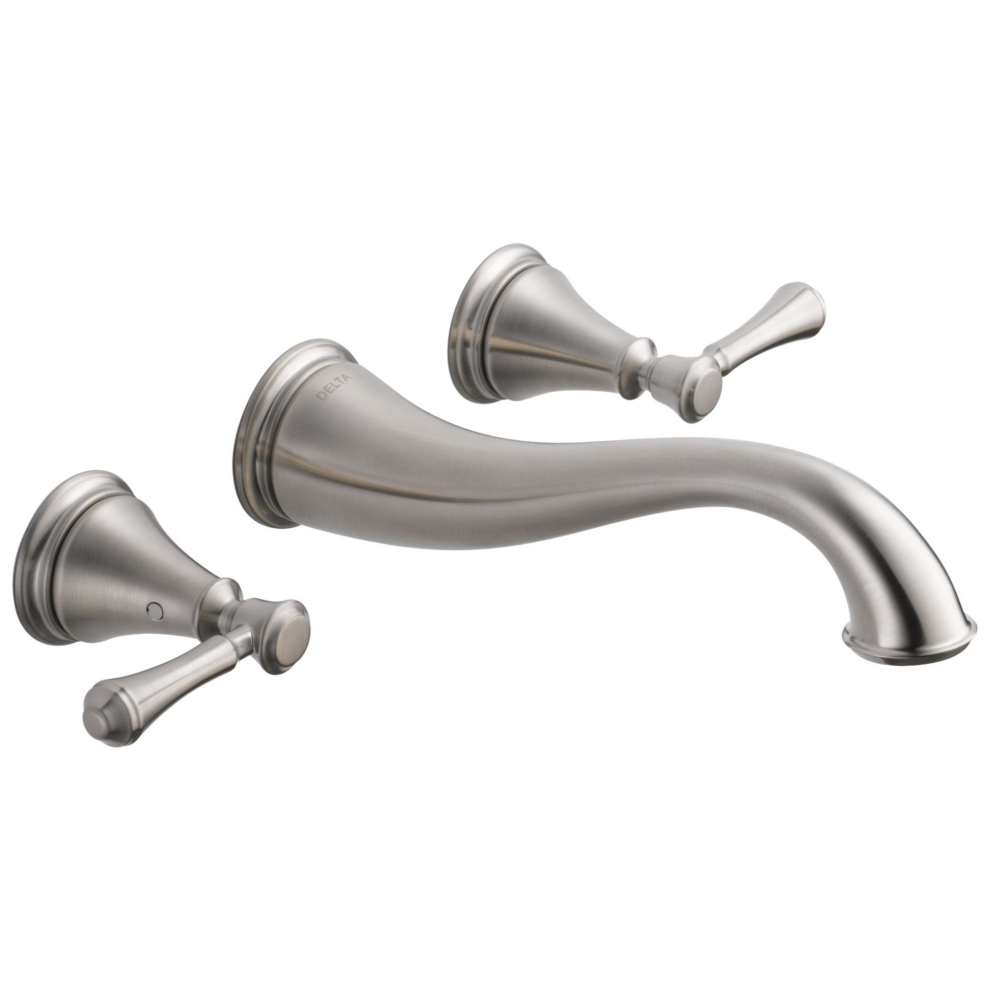 Delta Cassidy Collection Stainless Steel Finish Traditional Style Two Handle Wall Mount Bathroom Sink Faucet Trim Kit (Requires Valve) DT3597LFSSWL