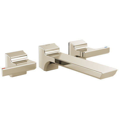 Delta Pivotal Modern Polished Nickel Finish Two-Handle Wall Mount Bathroom Sink Faucet Includes Rough-in Valve D3057V
