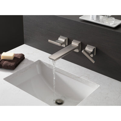 Delta Pivotal Modern Stainless Steel Finish Two-Handle Wall Mount Bathroom Sink Faucet Includes Rough-in Valve D3056V