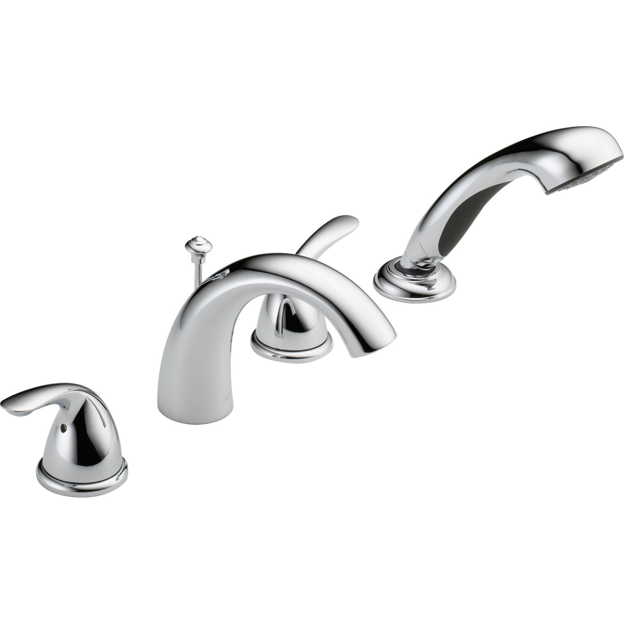 Delta Classic Chrome Roman Tub Filler Faucet with Hand Shower and Valve D857V