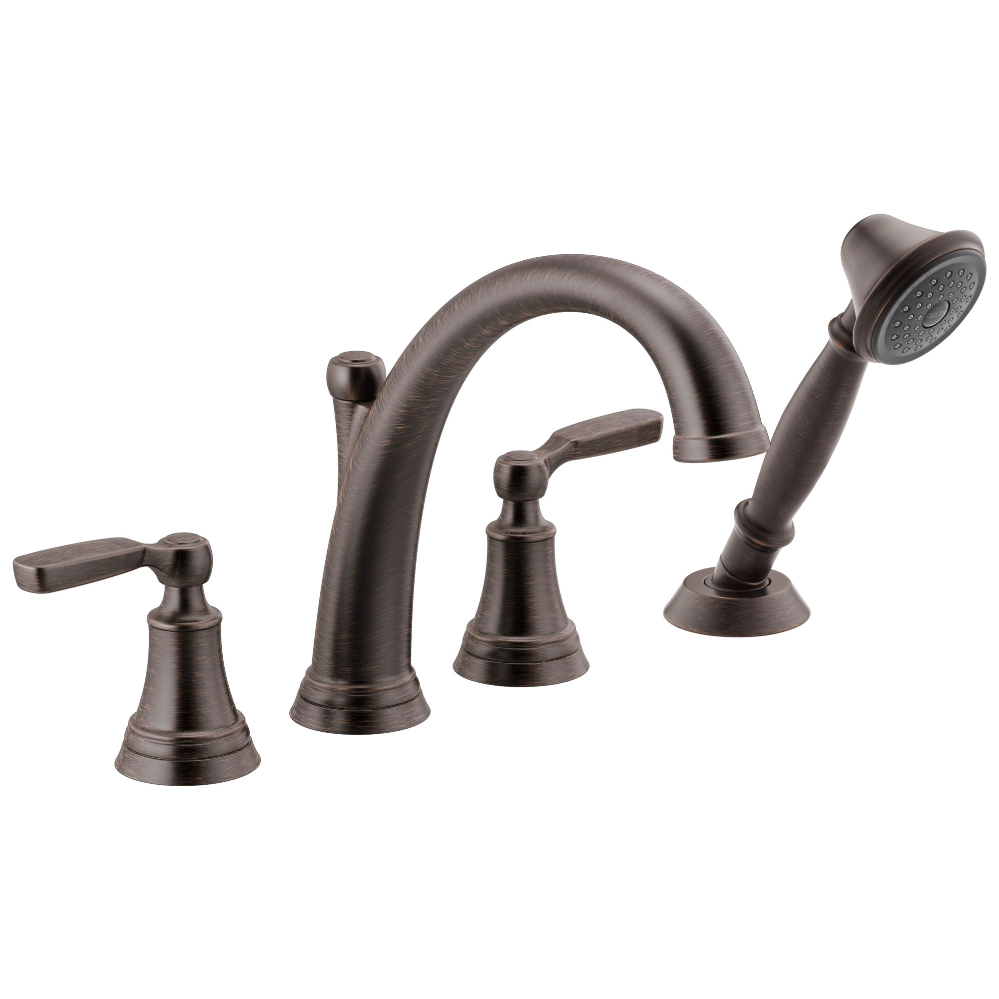 Delta Woodhurst Venetian Bronze Finish Roman Tub Filler Faucet Trim Kit with Hand Shower (Requires Valves) DT4732RB