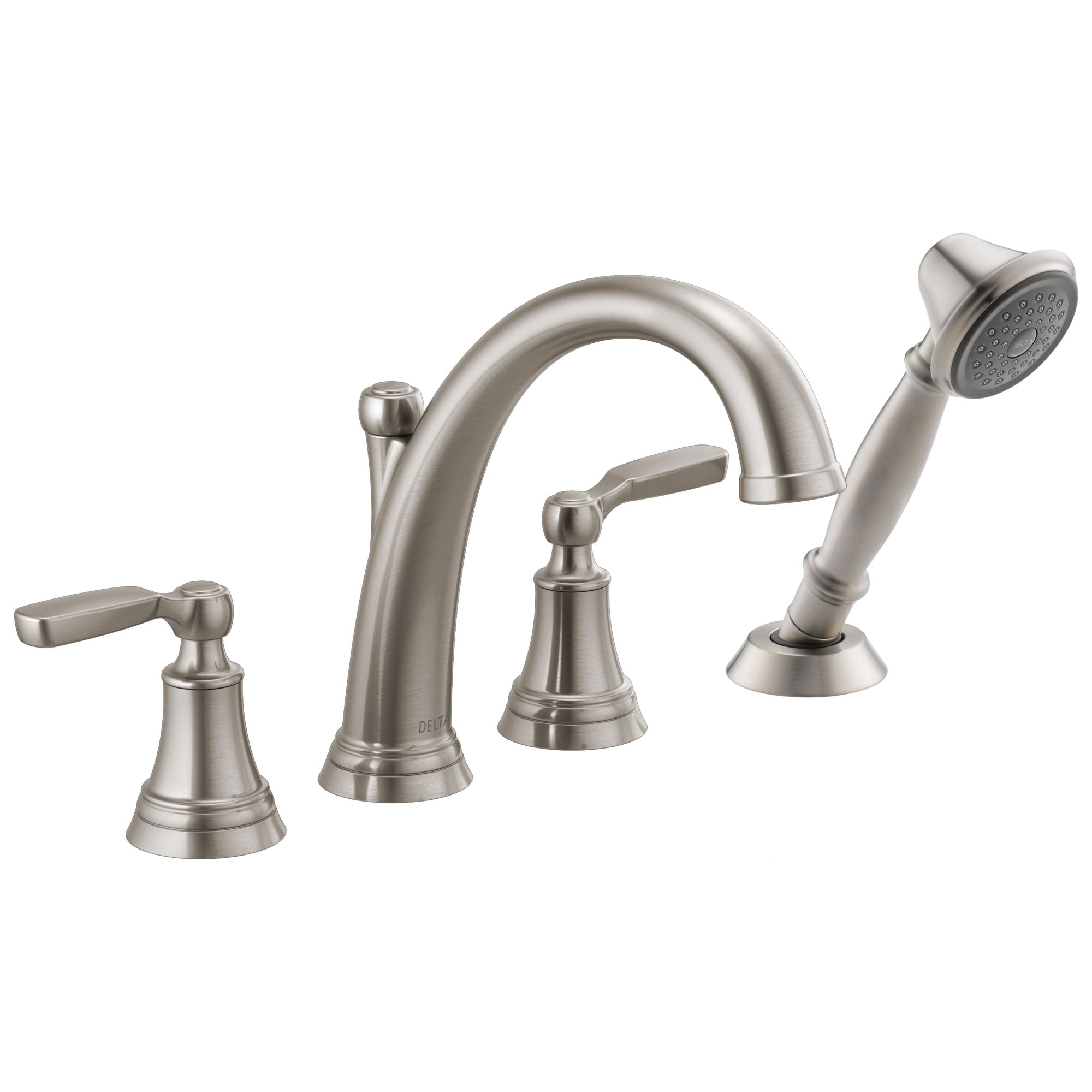 Delta Woodhurst Stainless Steel Finish 2 Handle Roman Tub Filler Faucet with Hand Shower Includes Rough-in Valve D3052V