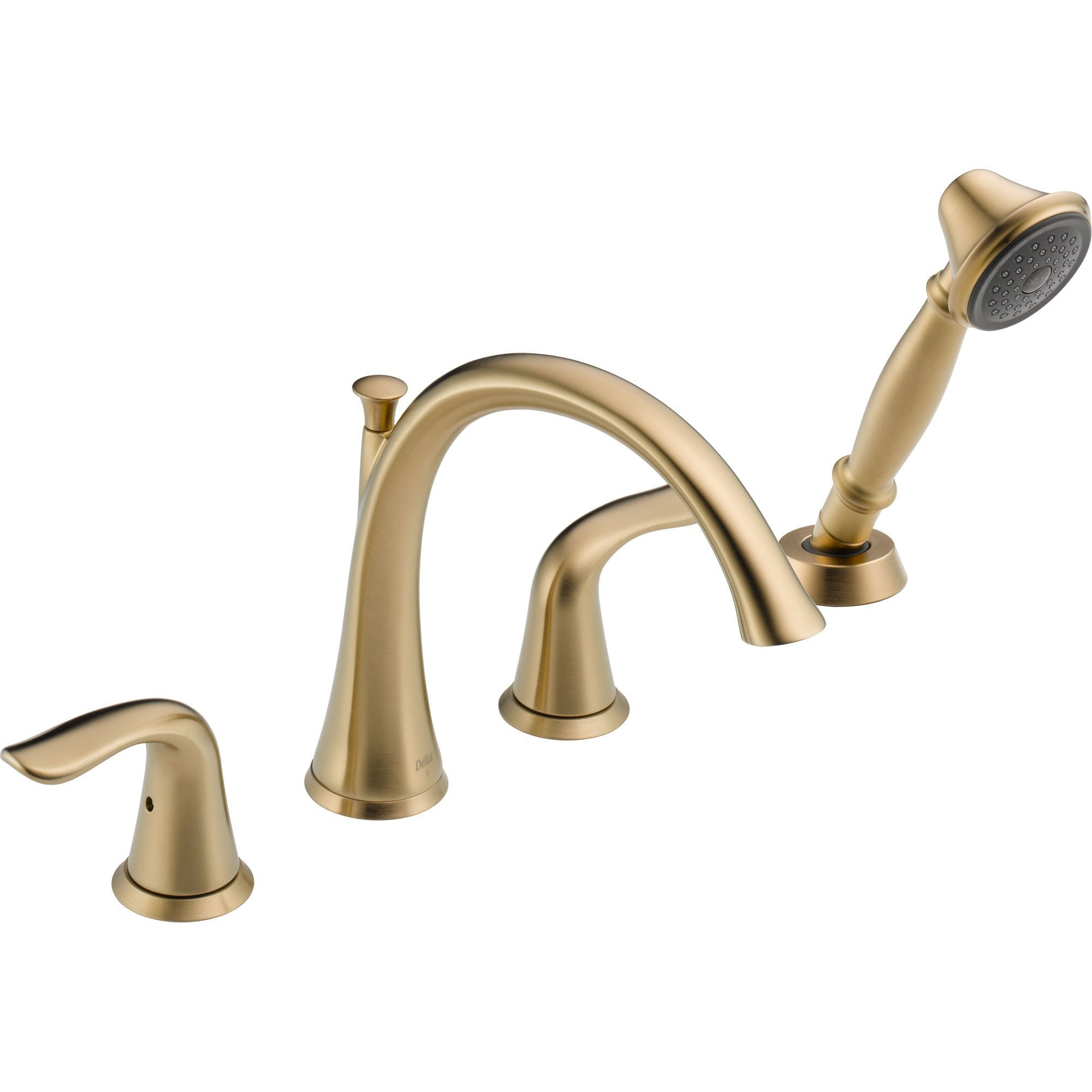 Delta Lahara Champagne Bronze Roman Tub Faucet with Handshower Trim Kit 564428