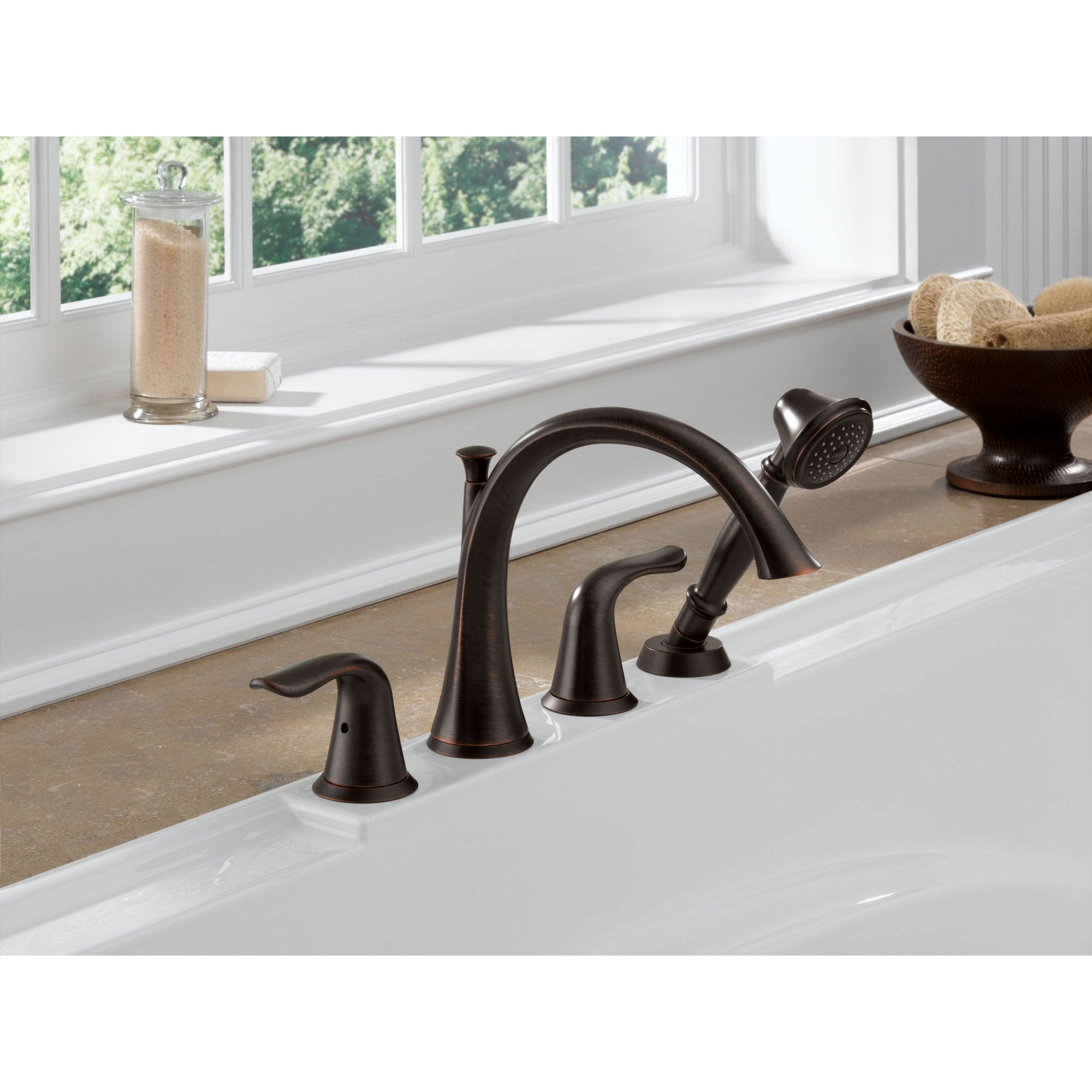 Delta Lahara Venetian Bronze Roman Tub Faucet With Handshower Trim