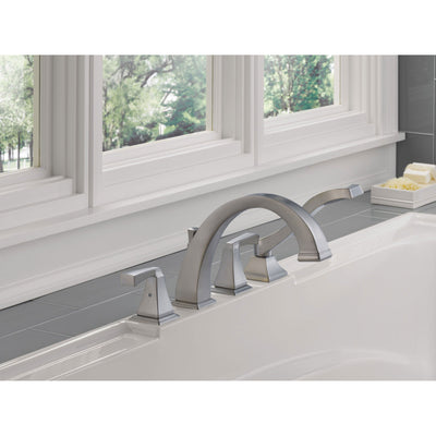 Delta Dryden Collection Stainless Steel Finish Roman Tub Filler Faucet with Side Hand Sprayer Includes Trim Kit and Rough-in Valve D2078V