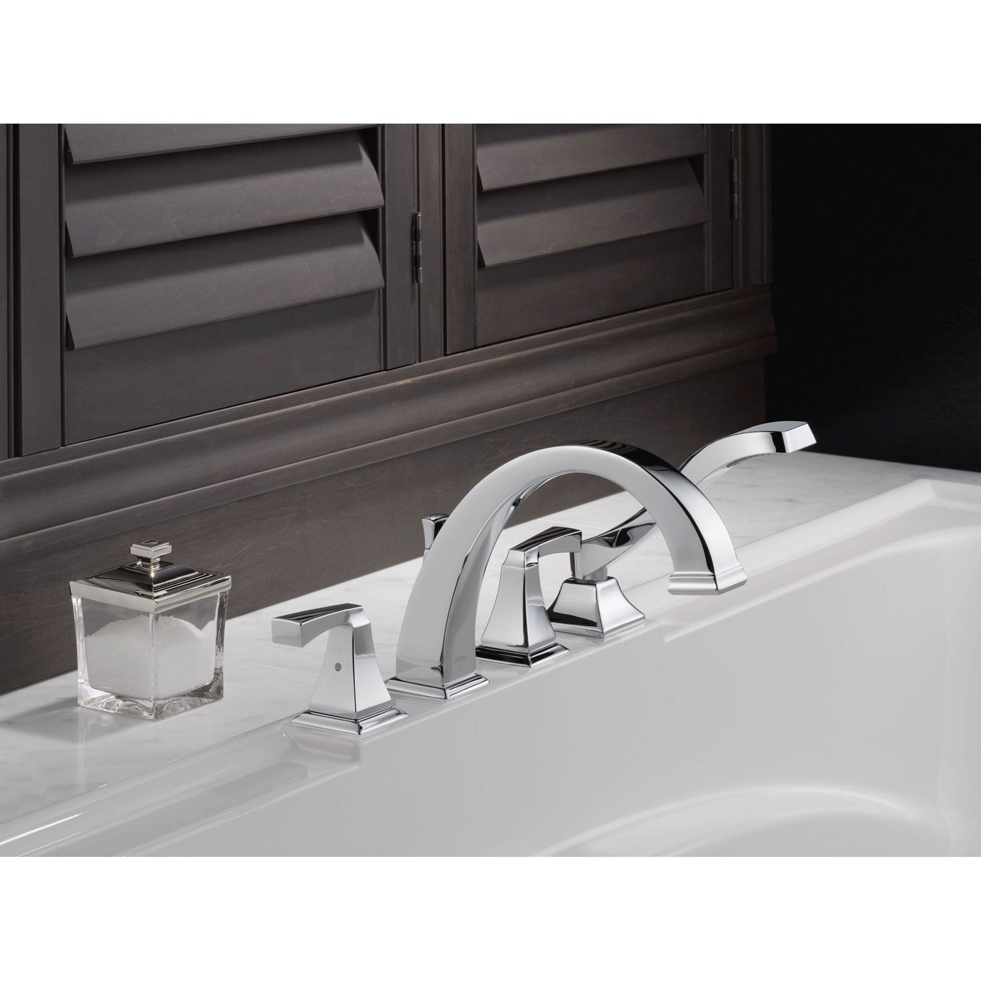 Delta Dryden Deck-Mount Chrome Roman Tub Faucet with Handshower and ...