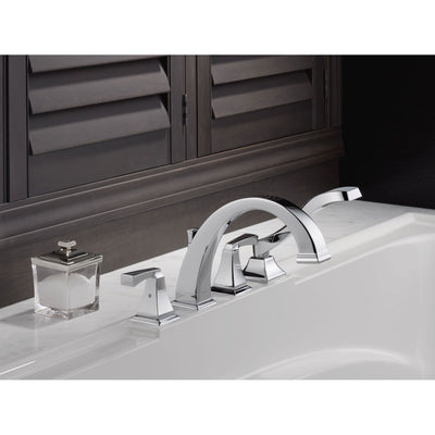 Delta Dryden Deck-Mount Chrome Roman Tub Faucet with Handshower Trim Kit 457129