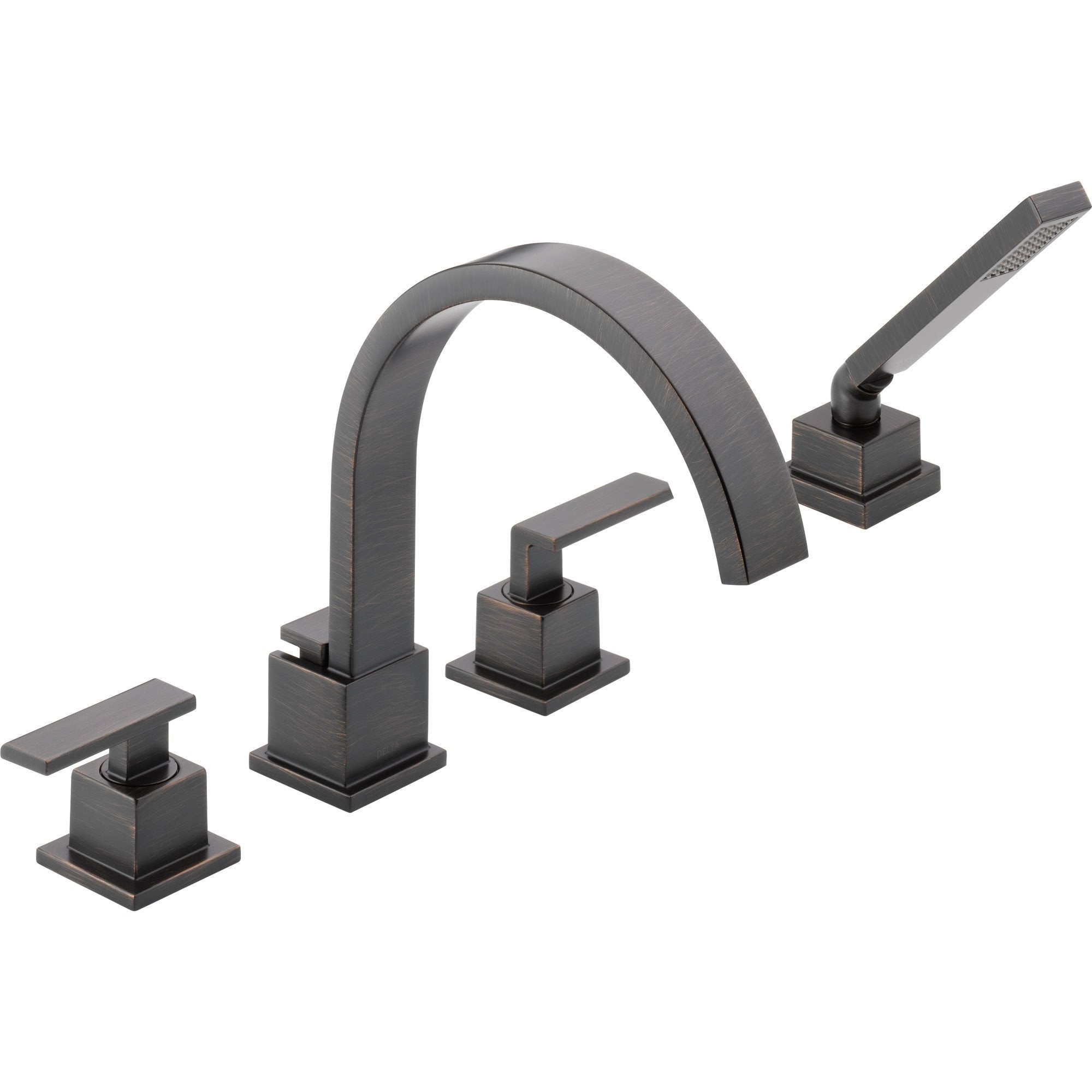 Delta Vero Venetian Bronze Roman Tub Faucet with Valve and Handshower D869V
