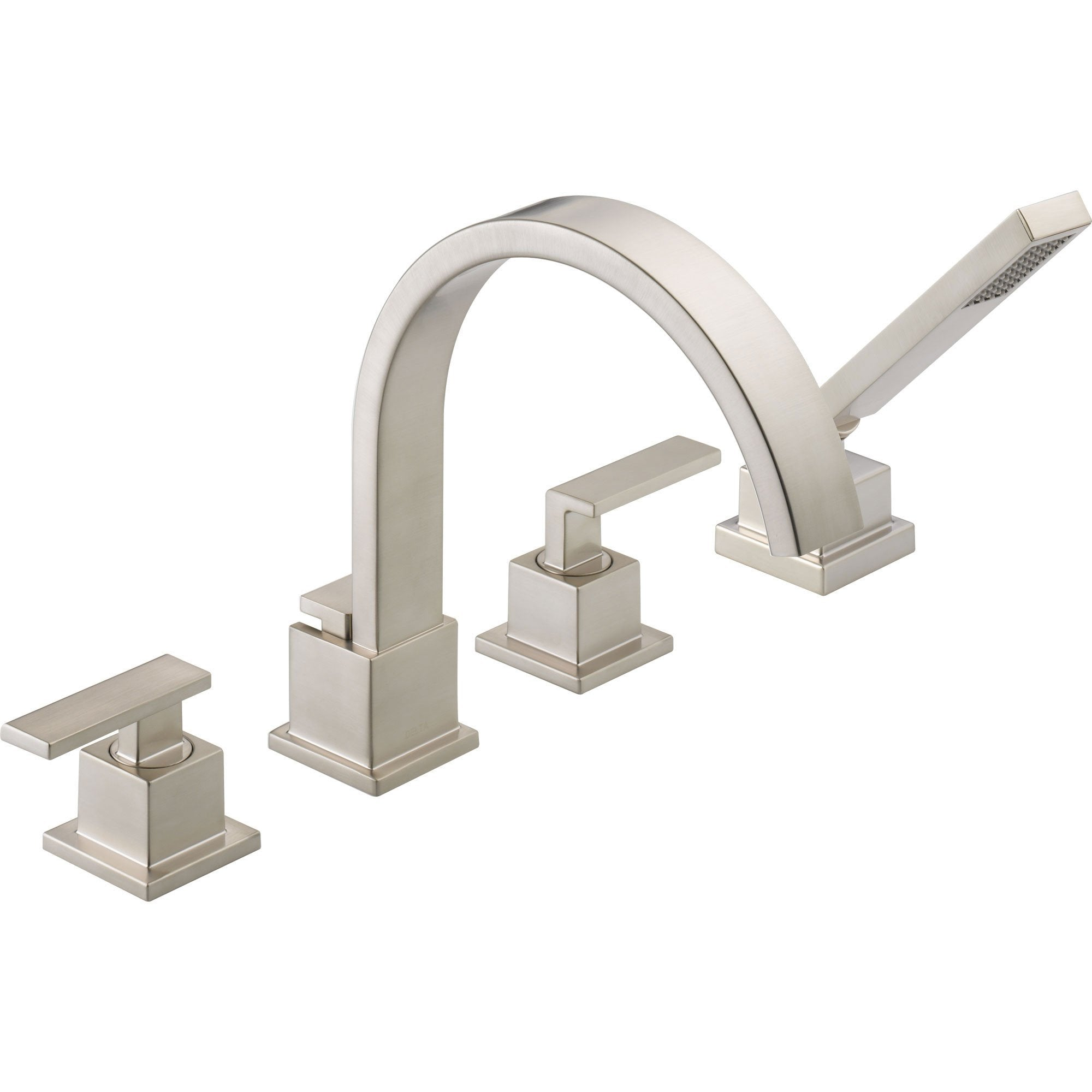 Delta Vero Stainless Steel Finish Roman Tub Faucet With Valve U0026 Hand Spray  D870V