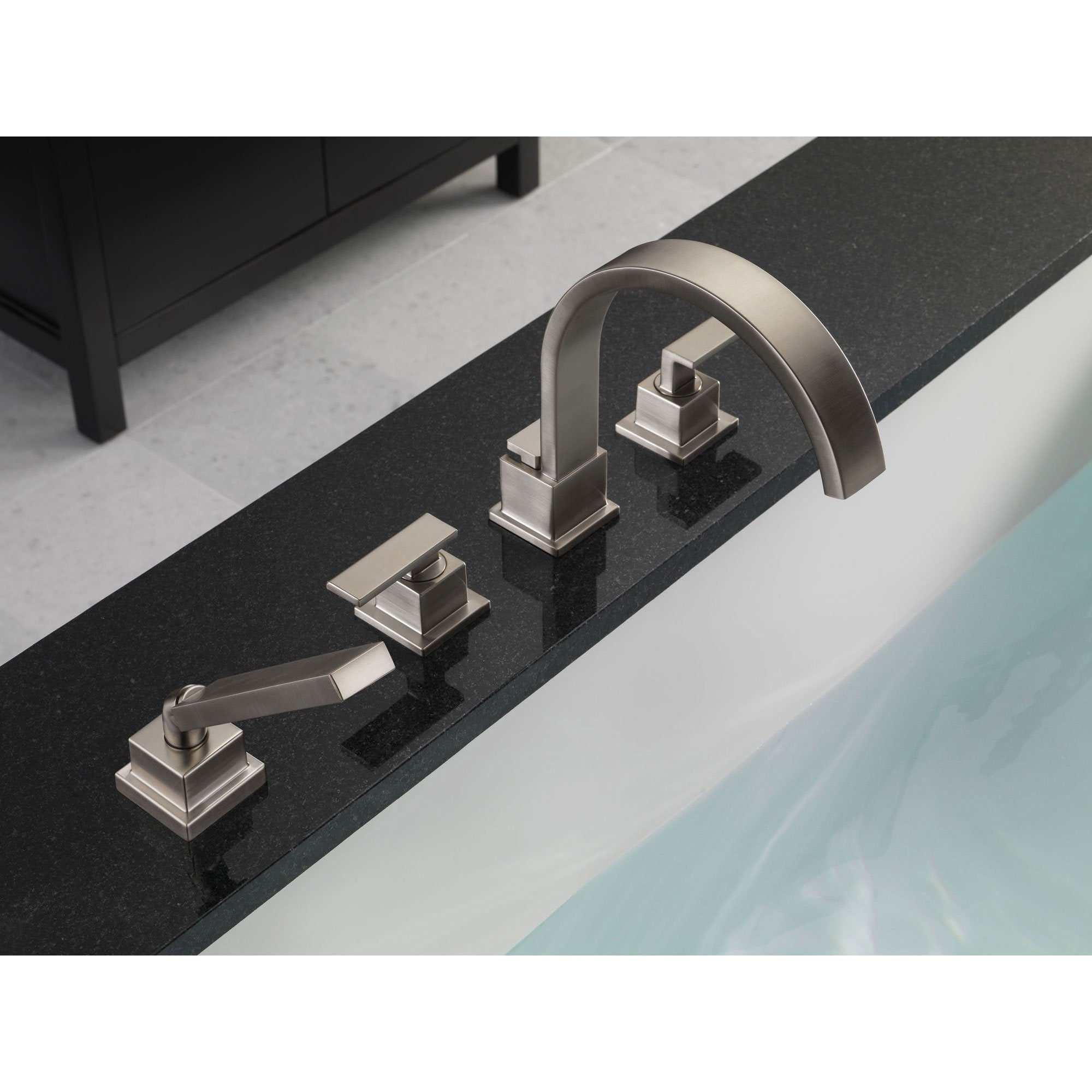 Delta Vero Stainless Steel Finish Roman Tub Faucet with Valve & Hand ...