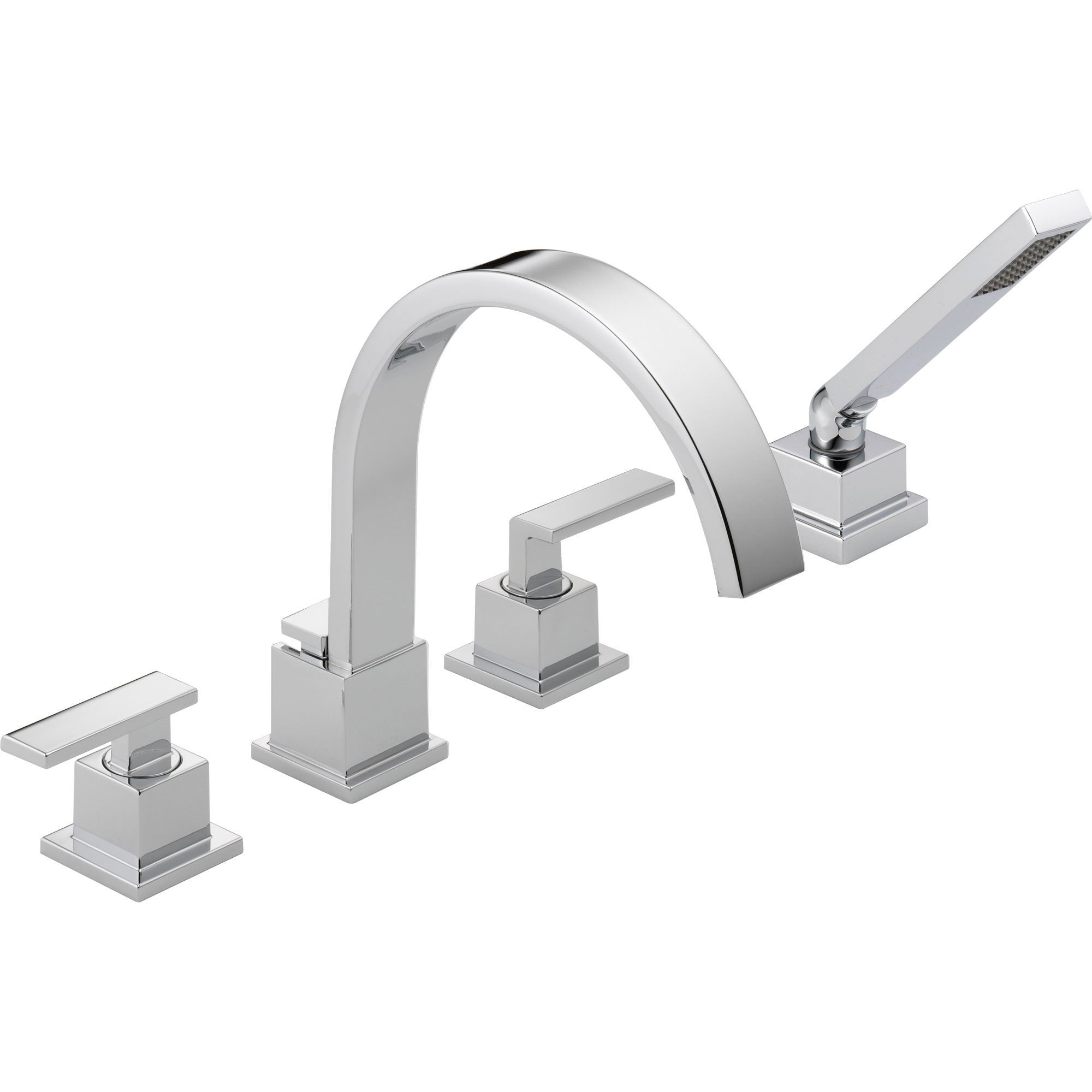 Delta Vero Deck-Mount Chrome Roman Tub Faucet with Valve and Handshower D867V