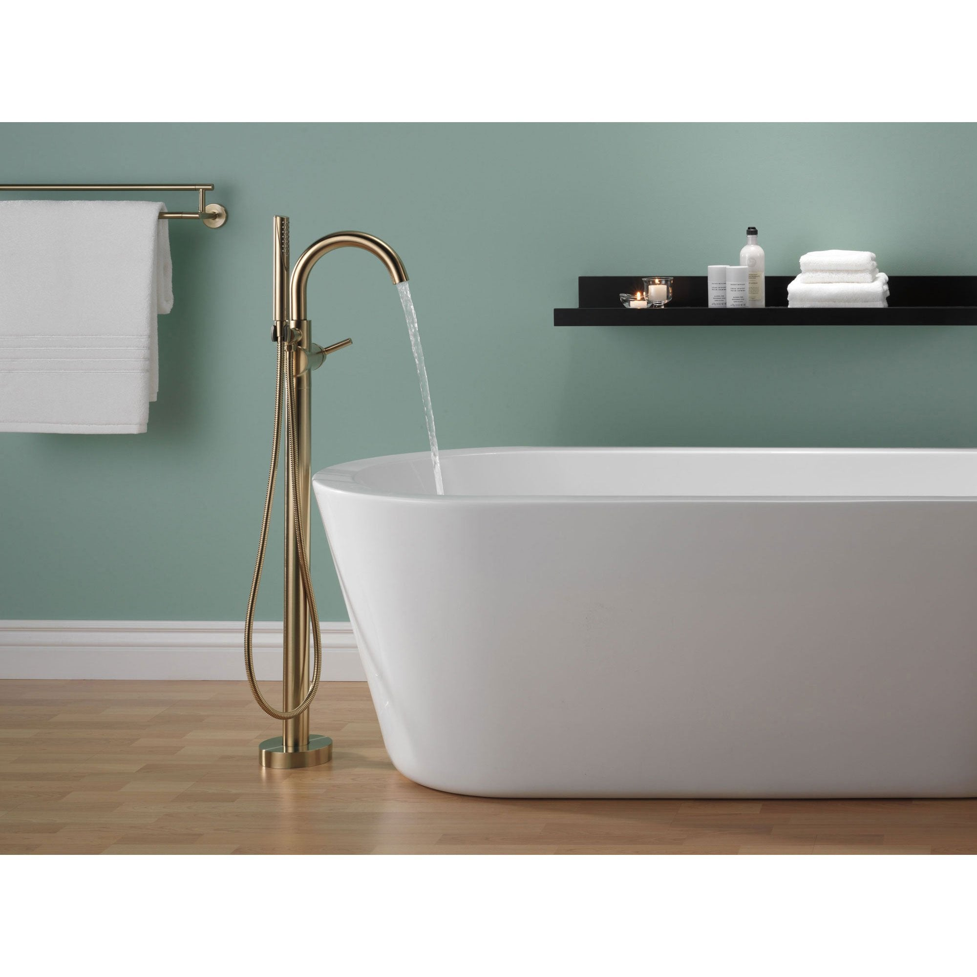 Delta Trinsic Champagne Bronze Floor Mount Freestanding Tub Filler ...