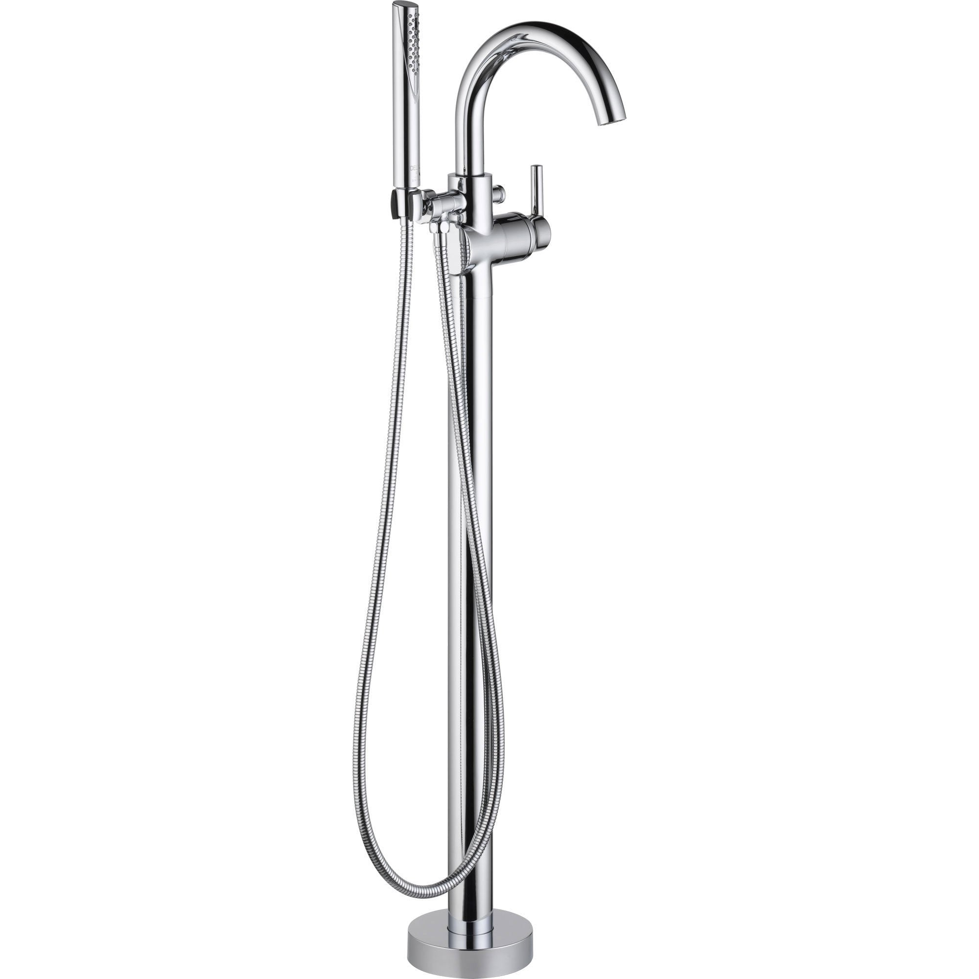 Picture of: Delta Trinsic Chrome Floor Mount Freestanding Tub Filler Faucet With V Faucetlist Com