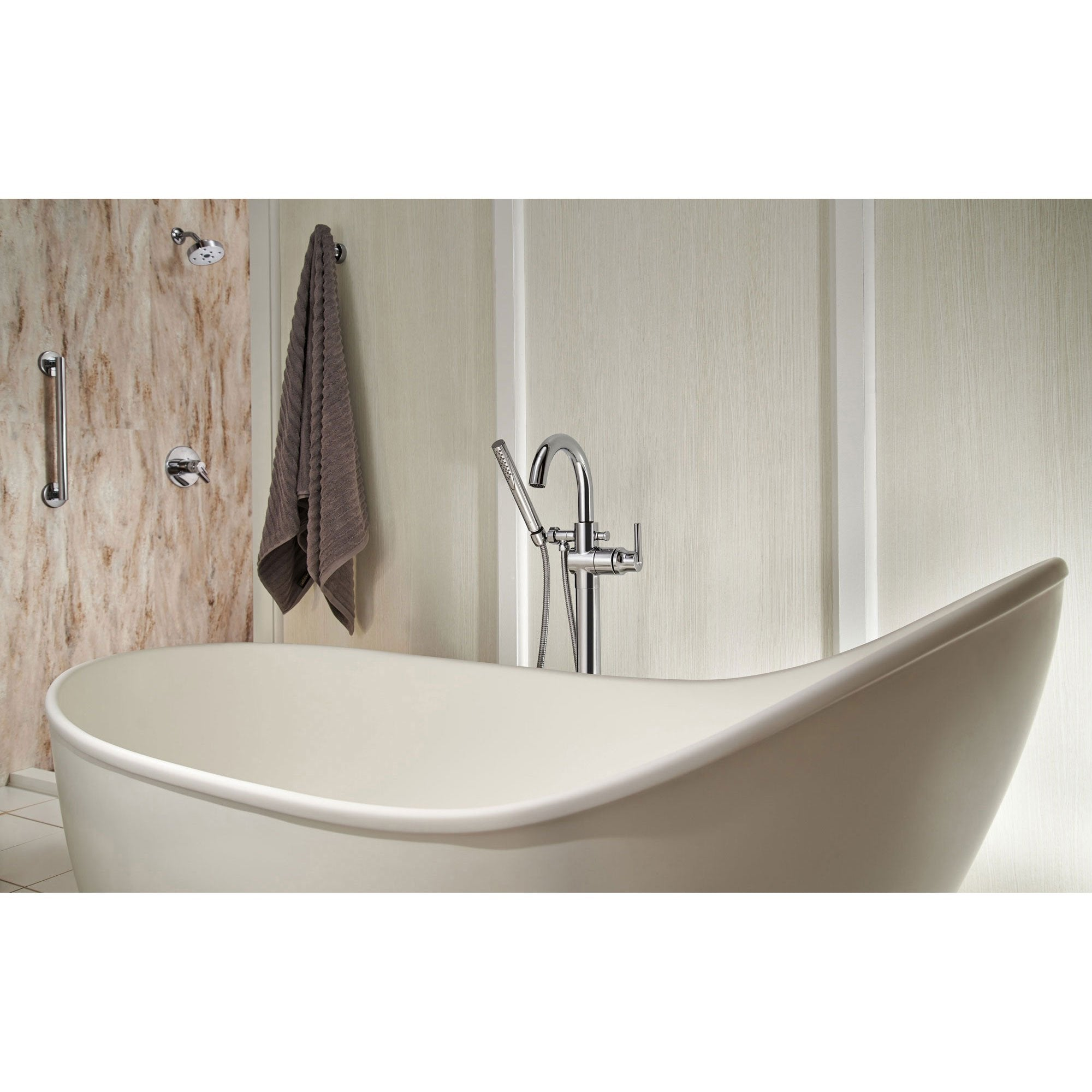 Delta Trinsic Chrome Floor Mount Freestanding Tub Filler Faucet with ...