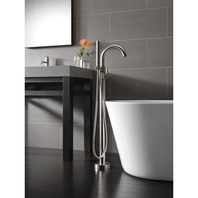 Delta Trinsic Stainless Steel Floor Mount Freestanding Tub Filler w/Valve D934V