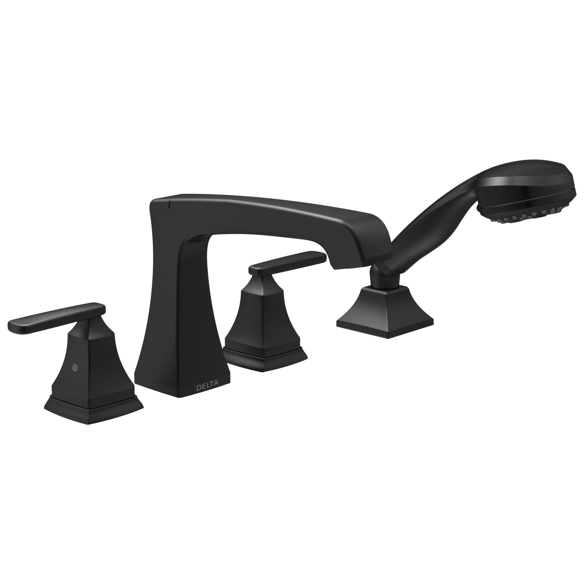 Delta Ashlyn Matte Black Finish Roman Tub Filler Faucet Trim Kit with Hand Shower (Requires Valves) DT4764BL