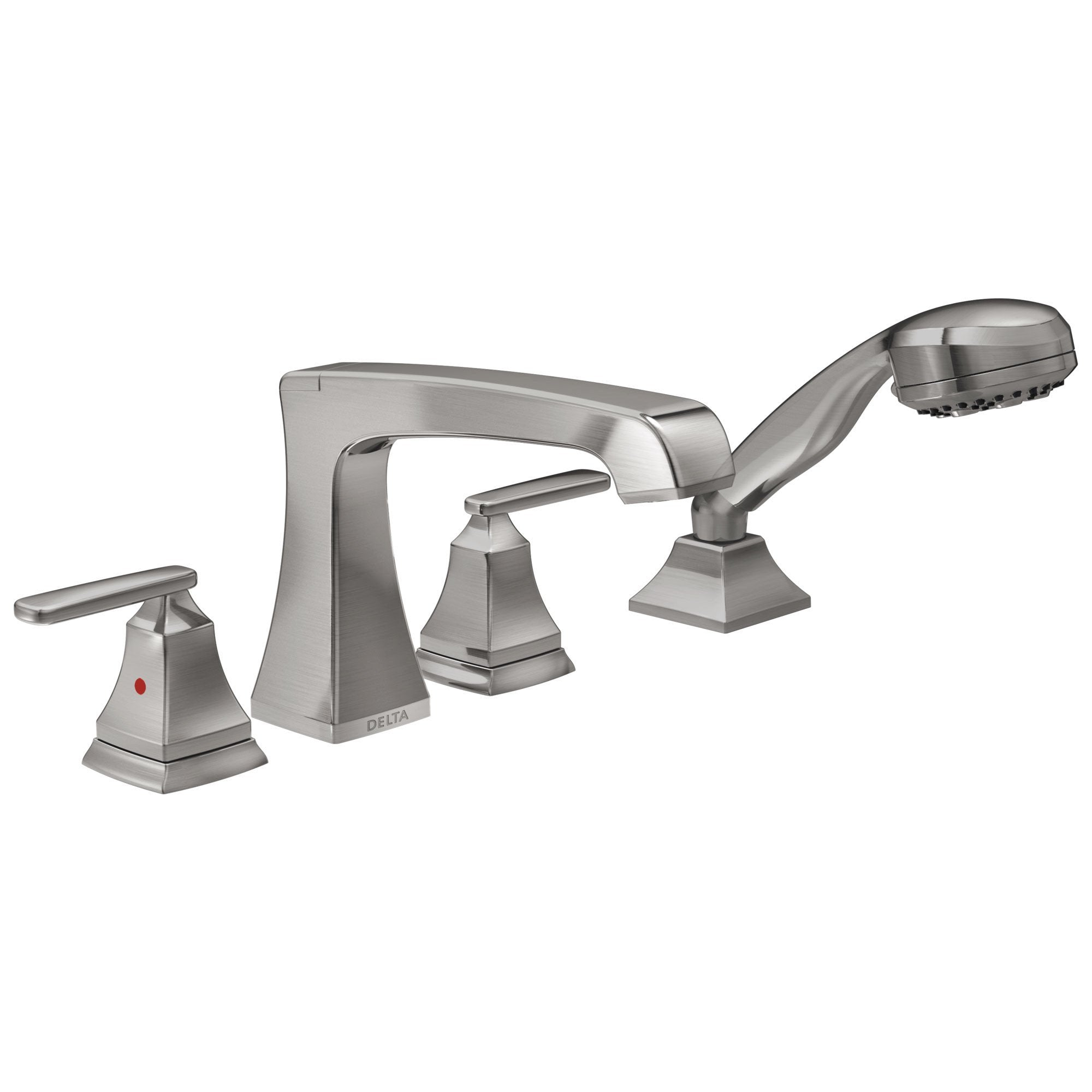 Delta Ashlyn Collection Stainless Steel Finish High Flow Roman Bath Tub Filler Faucet Trim with Hand Shower Sprayer (Requires Rough-in Valve) DT4764SS