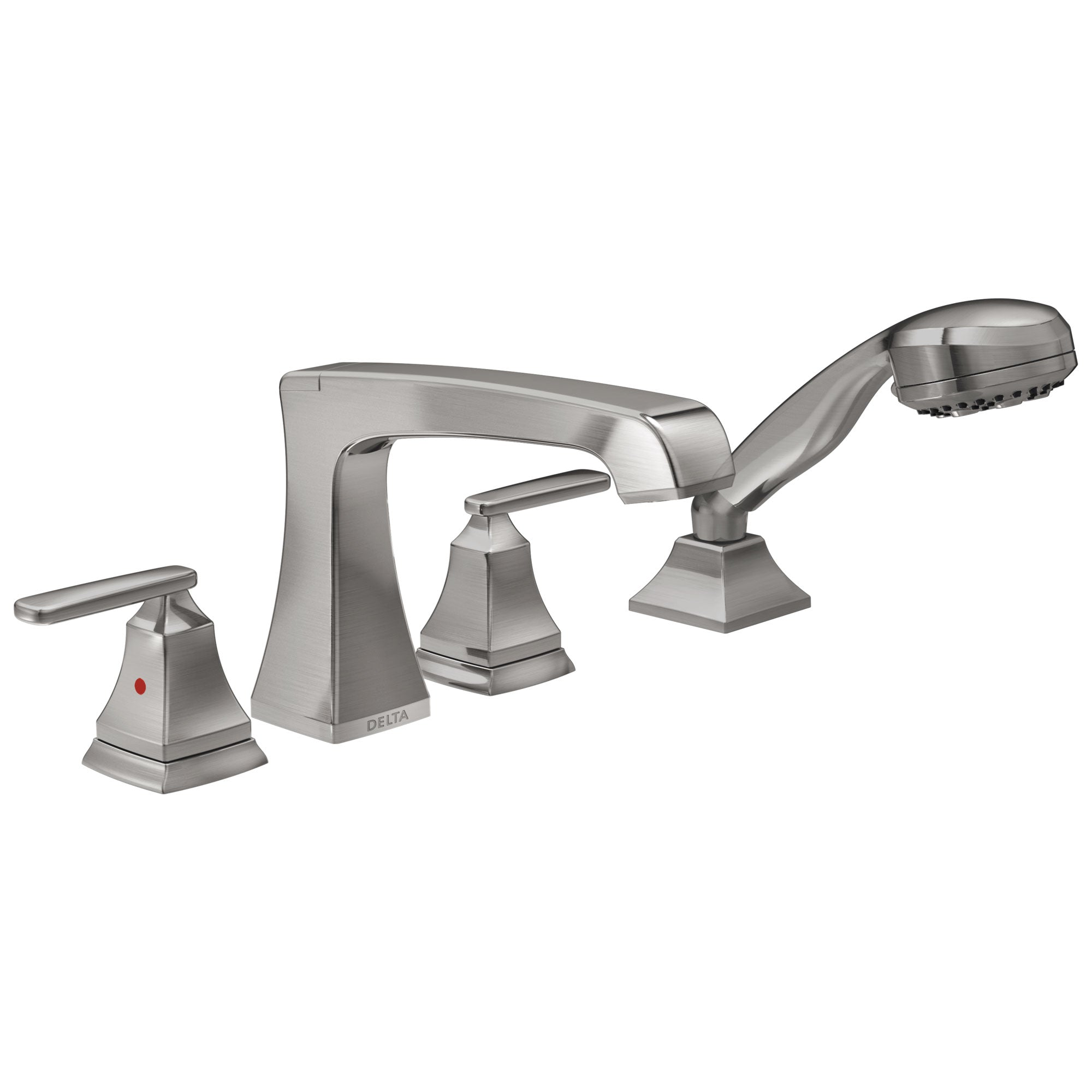 Delta Ashlyn Collection Stainless Steel Finish High Flow Roman Bath Tub Filler Faucet Trim with Hand Shower Sprayer Includes Trim Kit and Rough-in Valve D2074V