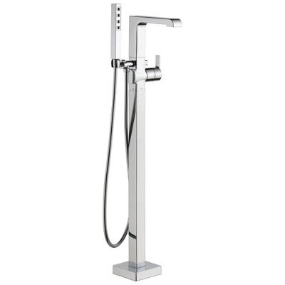 Delta Ara Collection Chrome Floor Mount Freestanding Contemporary Tub Filler Faucet with Hand Shower Trim Kit only (Requires Rough-in Valve) DT4767FL
