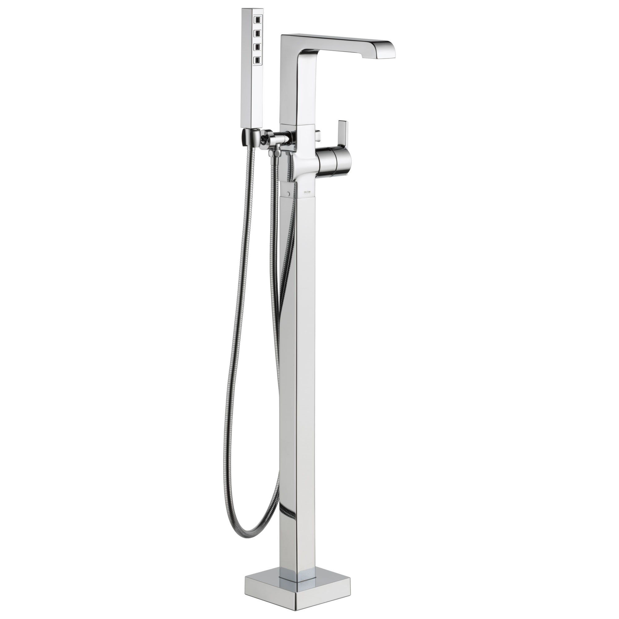Delta Ara Collection Chrome Floor Mount Freestanding Contemporary Tub Filler Faucet with Hand Shower Includes Trim Kit and Rough-in Valve D2073V