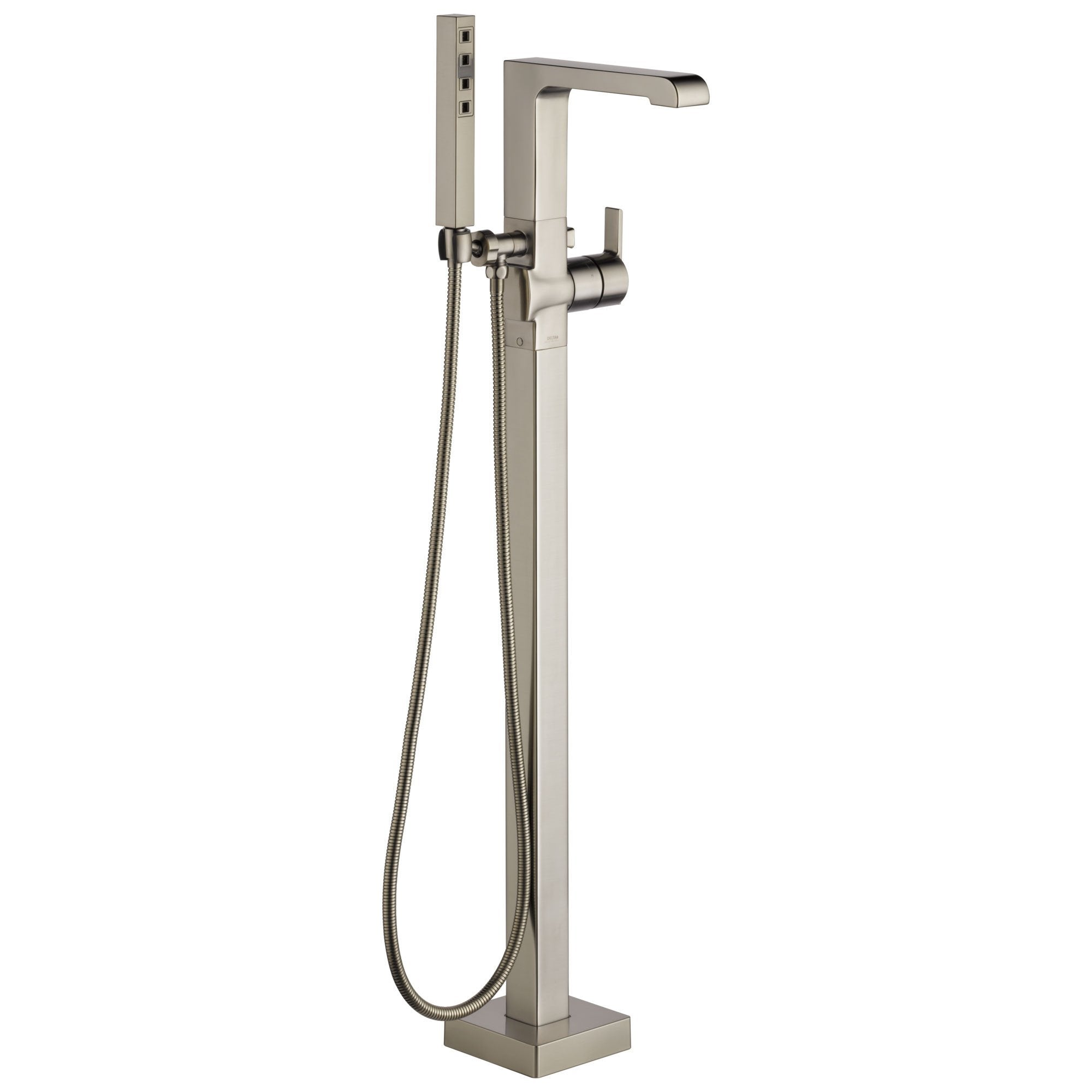 Delta Ara Collection Stainless Steel Finish Floor Mount Freestanding Tub Filler Faucet With Hand Shower Trim Only Requires Valve Dt4767ssfl