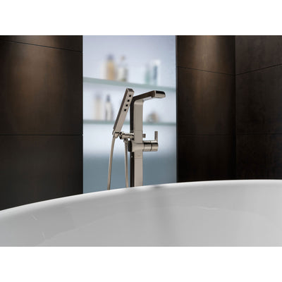 Delta Ara Collection Stainless Steel Finish Floor Mount Freestanding Tub Filler Faucet with Hand Shower Includes Trim Kit and Rough-in Valve D2072V