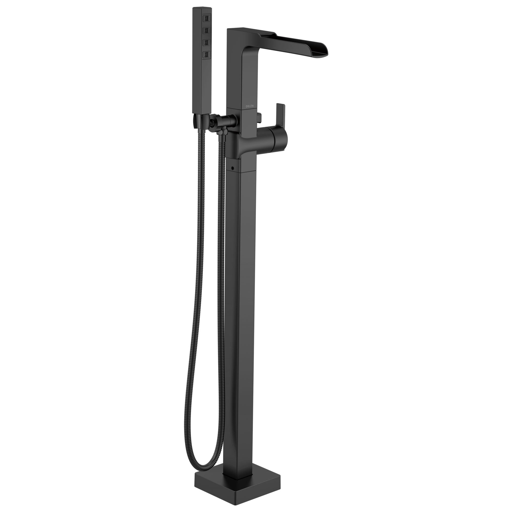 Delta Ara Matte Black Finish Freestanding Floor Mount Channel Spout Tub Filler Faucet with Hand Shower Includes Handle, Cartridge, and Valve D3611V