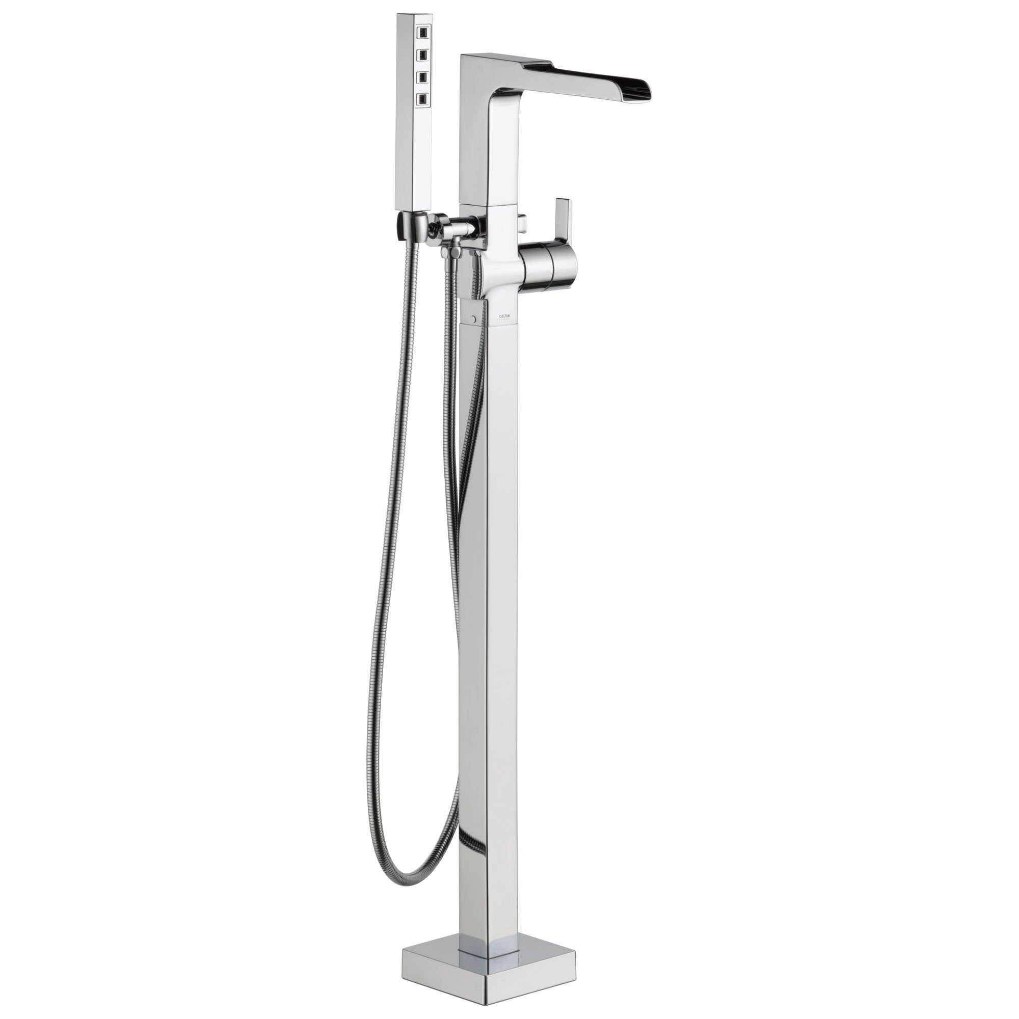 Delta Ara Collection Chrome Floor Mount Freestanding Channel Spout Tub Filler Faucet with Hand Shower Trim Kit only (Requires Rough-in Valve) DT4768FL